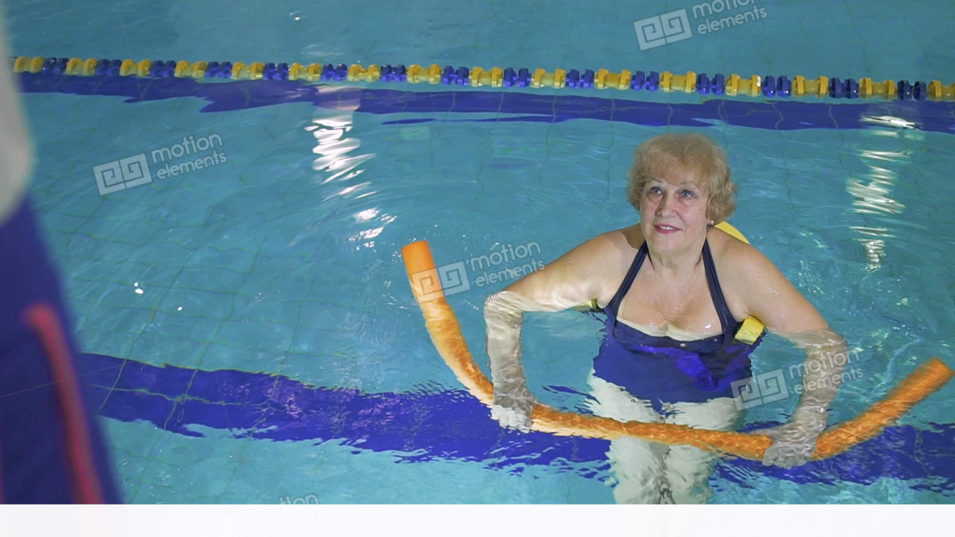 Elderly Woman Makes A Fitness Exercises With Noodle In Swimming Pool Stock Video Footage 11261790