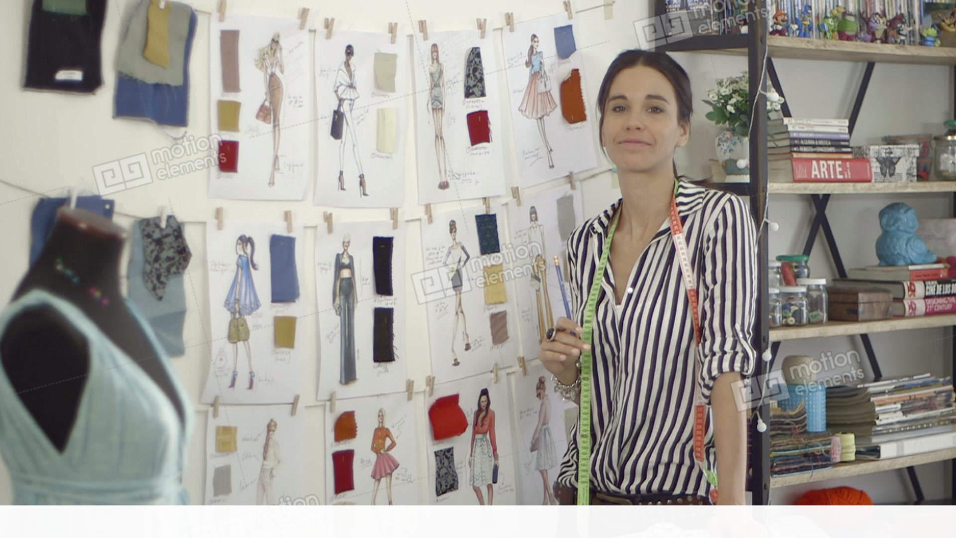 Fashion Designer At Home Studio Stock Video Footage 11428049
