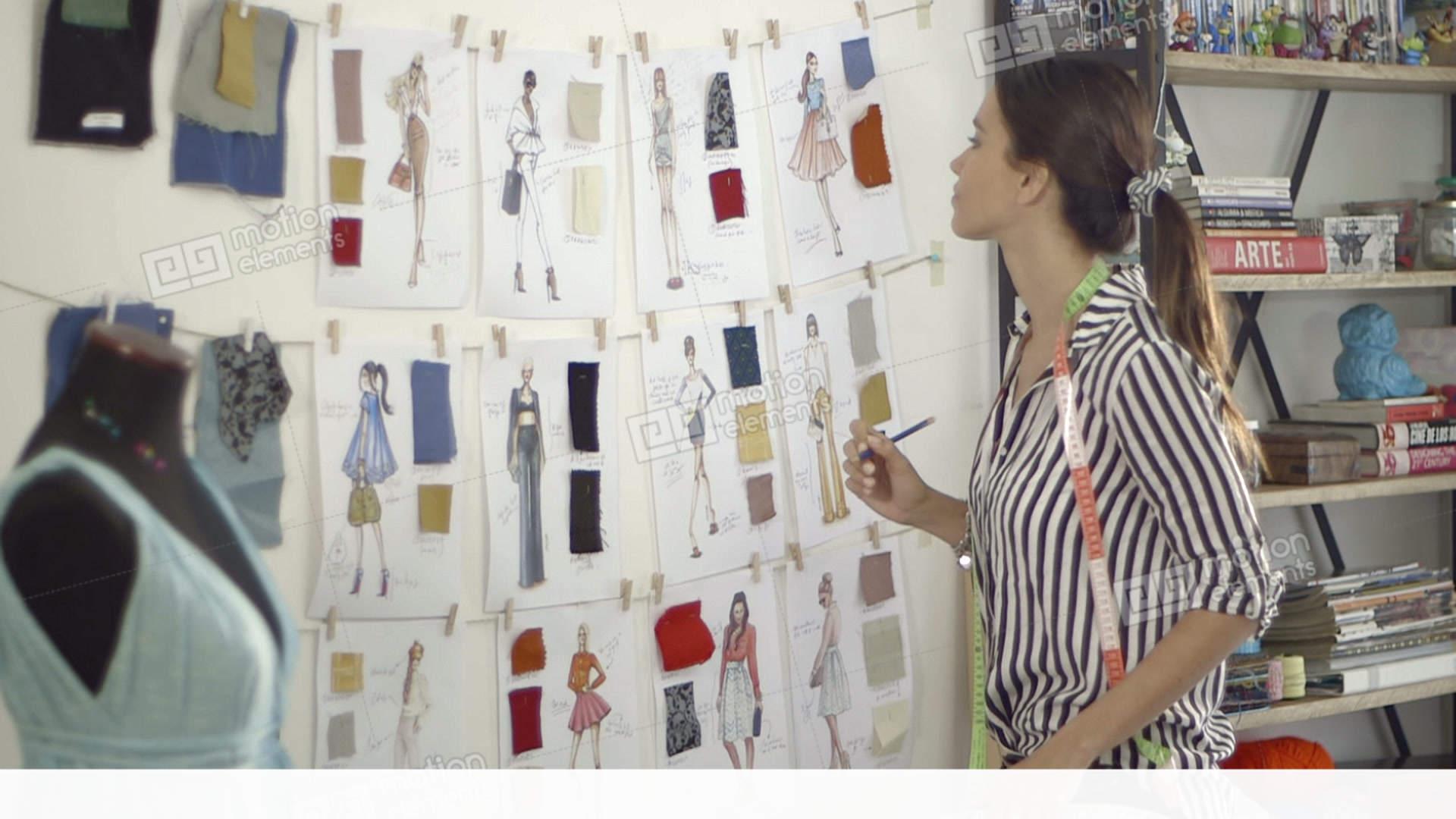 Fashion Designer At Home Studio Stock video footage | 11428049