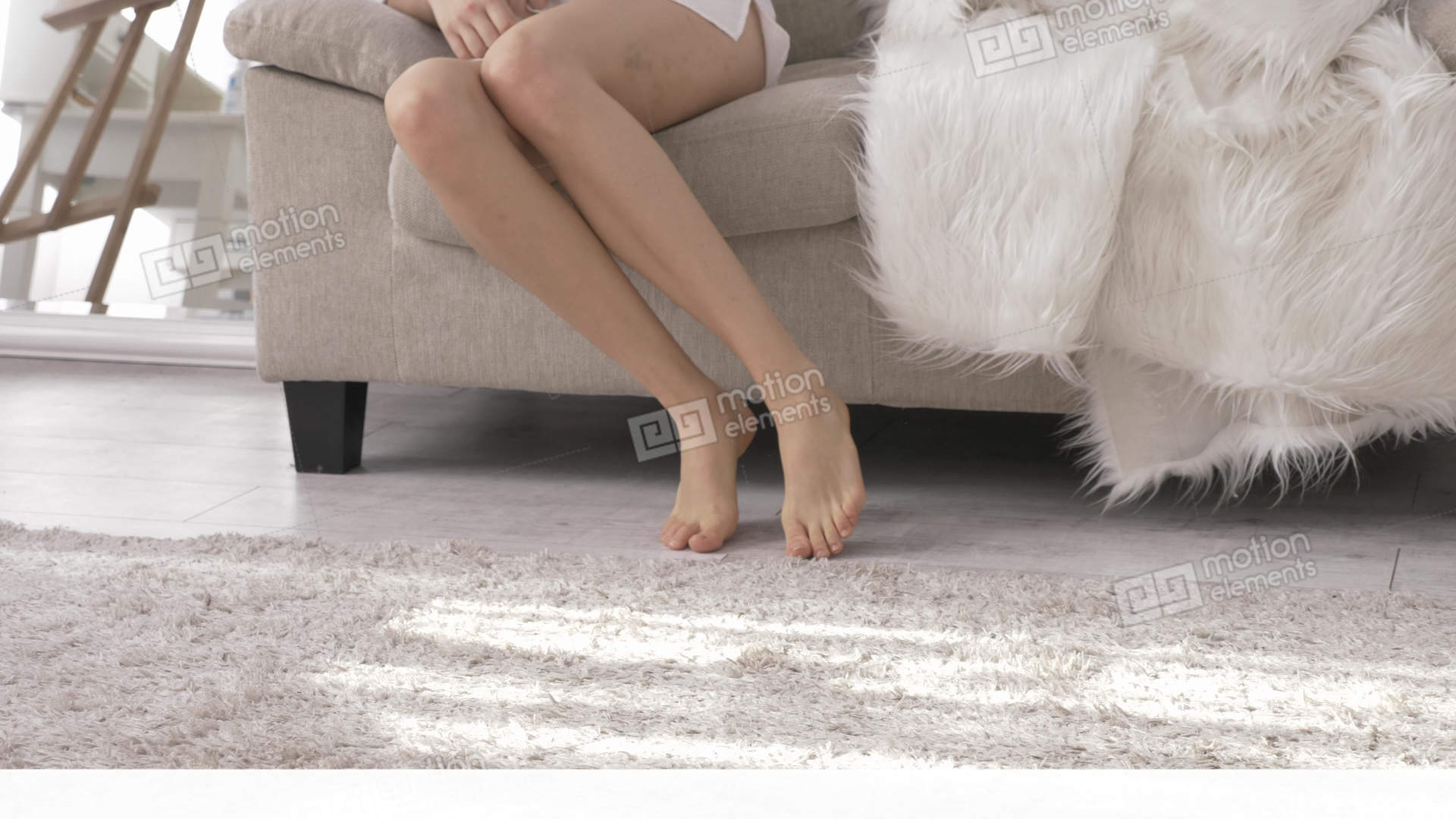 Sexy Female Caucasian Feet Bare Naked Legs Walking On Stock Video Footage