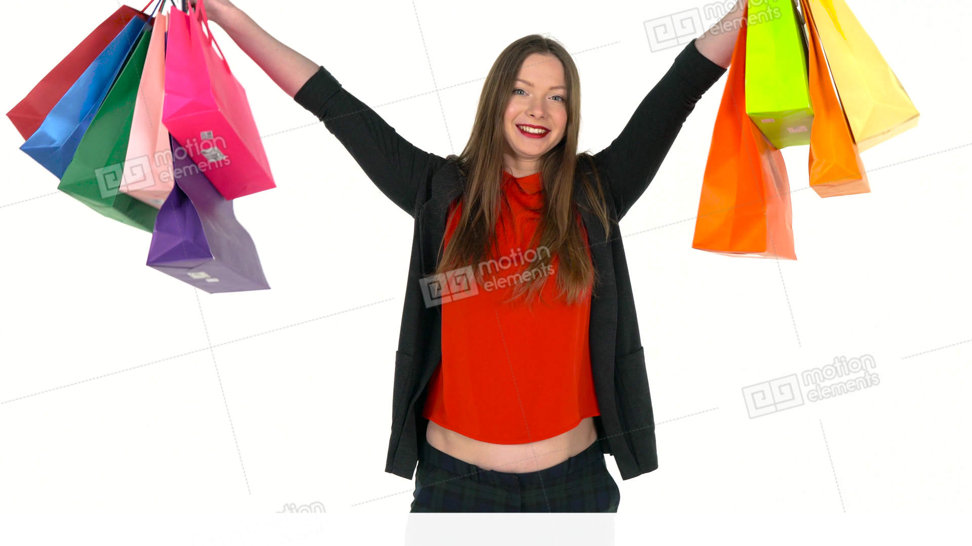 284a1b4a7f0ed Female shopper holding multicolored shopping bags on... Stock Video Footage