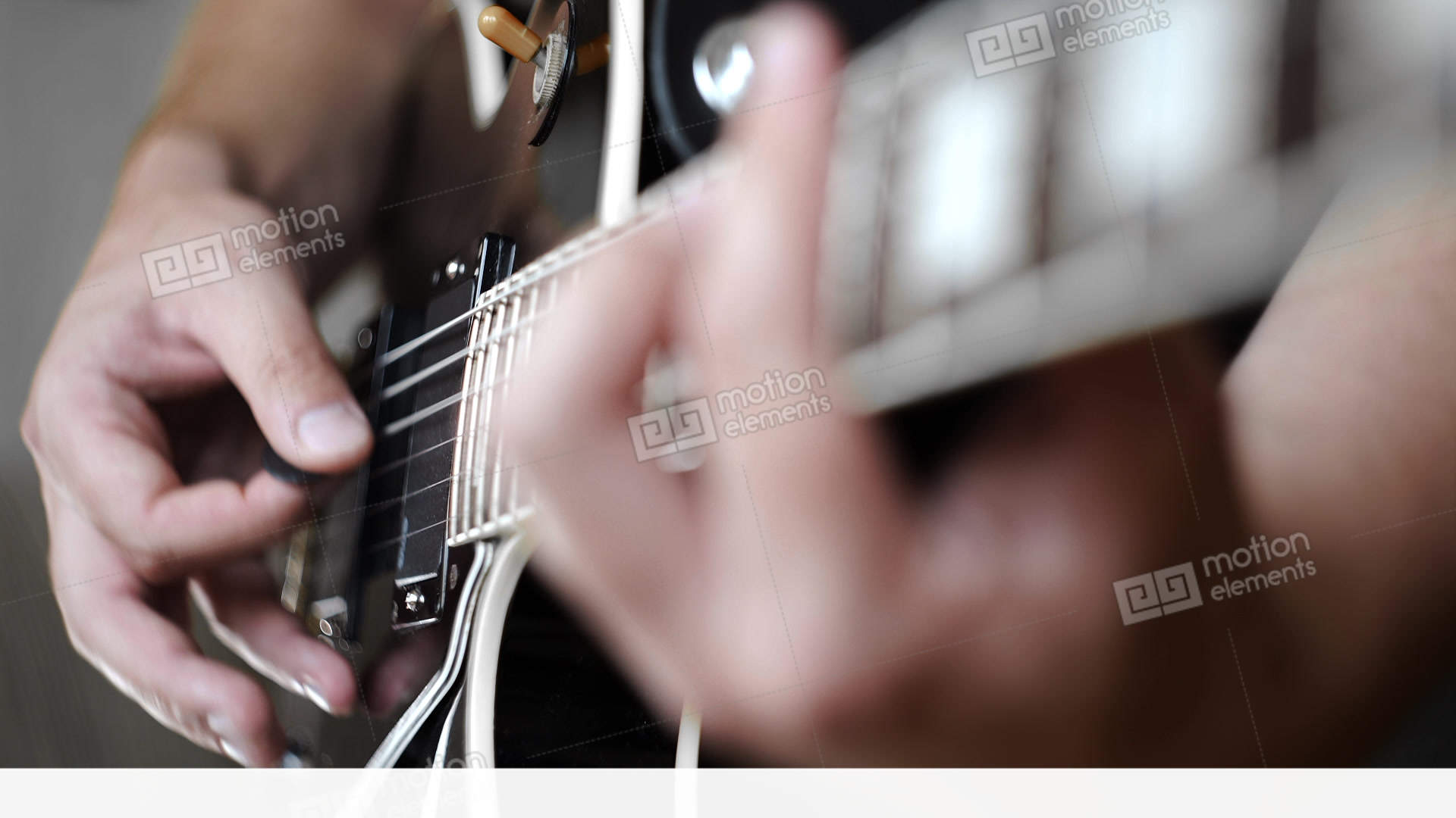 Guitar Player Plays Chords On The Electric Les Paul Style Guitar
