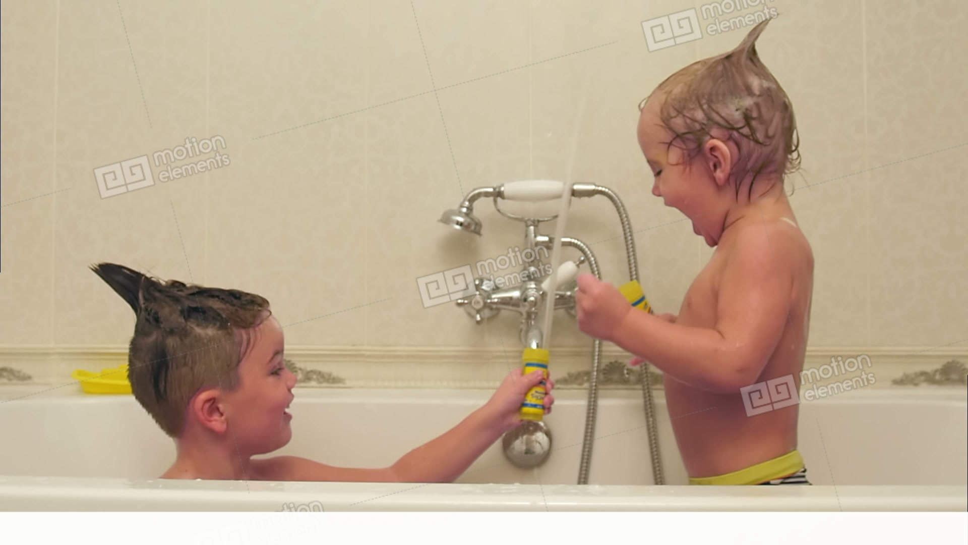 Two Little Boys Having Fun While Taking Bath In Bathtub Stock video ...