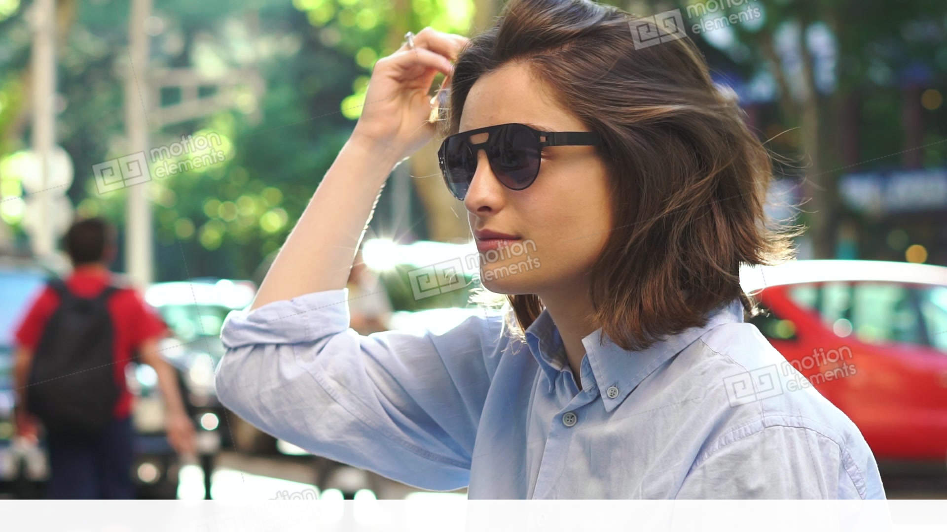 ec9ef2c005 Portrait Of Beautiful Young Girl In Sunglasses Stock video footage ...
