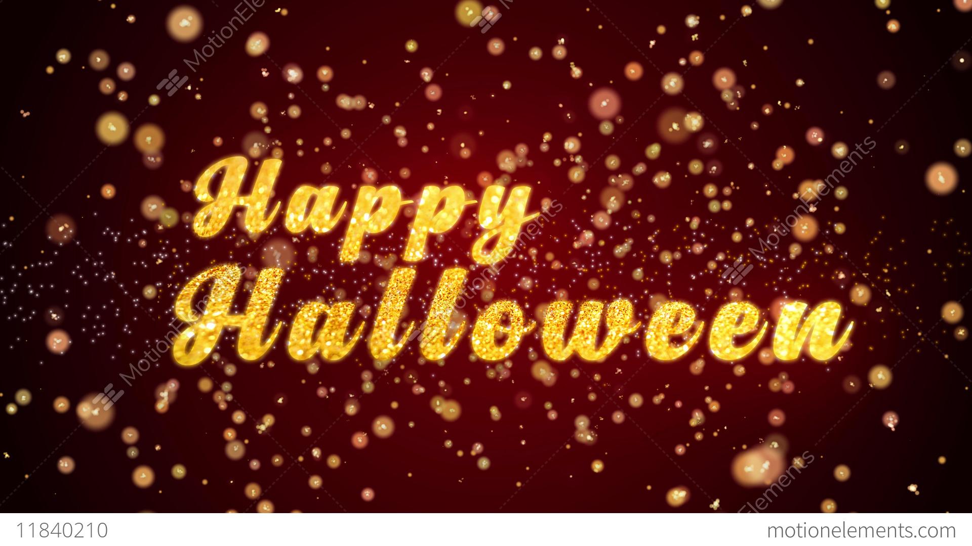 Happy halloween greeting card text shining particles for stock happy halloween greeting card text shining particles for stock video footage m4hsunfo