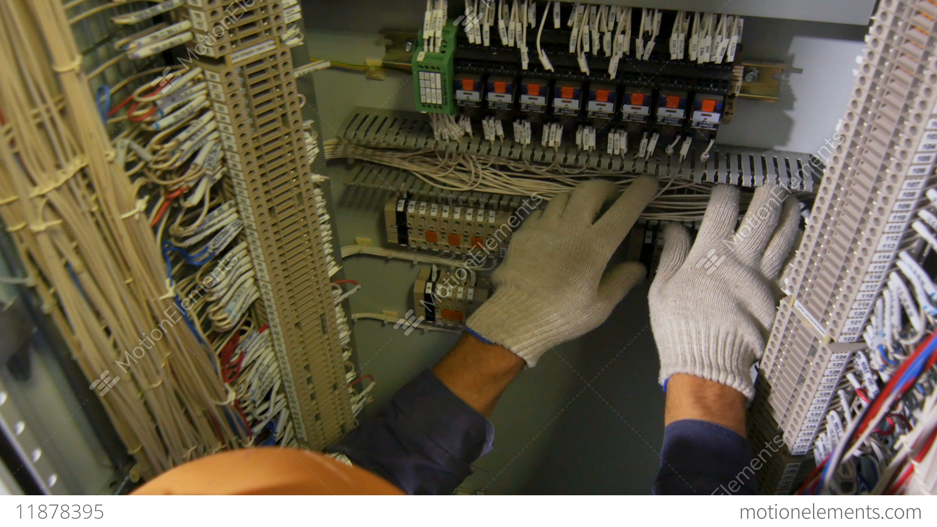 Technician In Cotton Gloves Connects Wires Switchboard Case Stock Wiring A Switch Board Video Footage