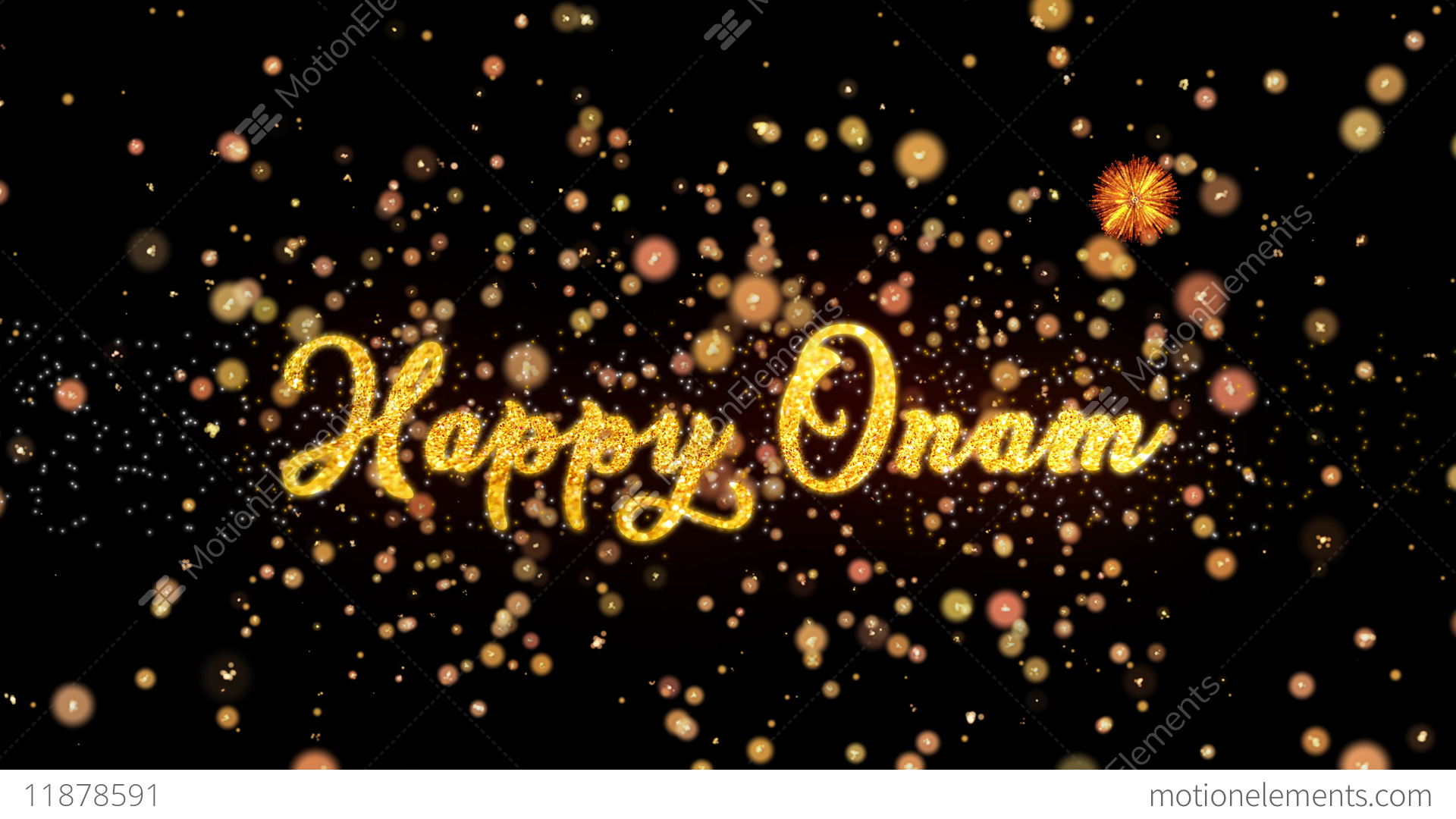 Happy Onam Abstract Particles And Glitter Fireworks Greeting Card