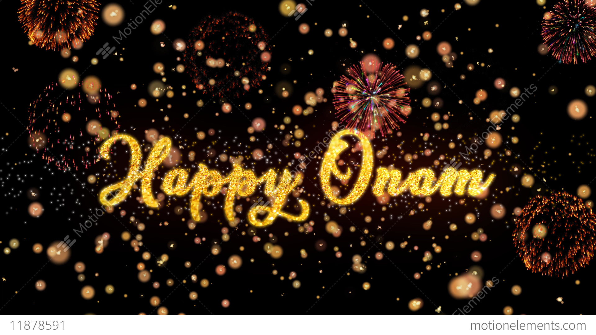 happy onam abstract particles and glitter fireworks stock video footage