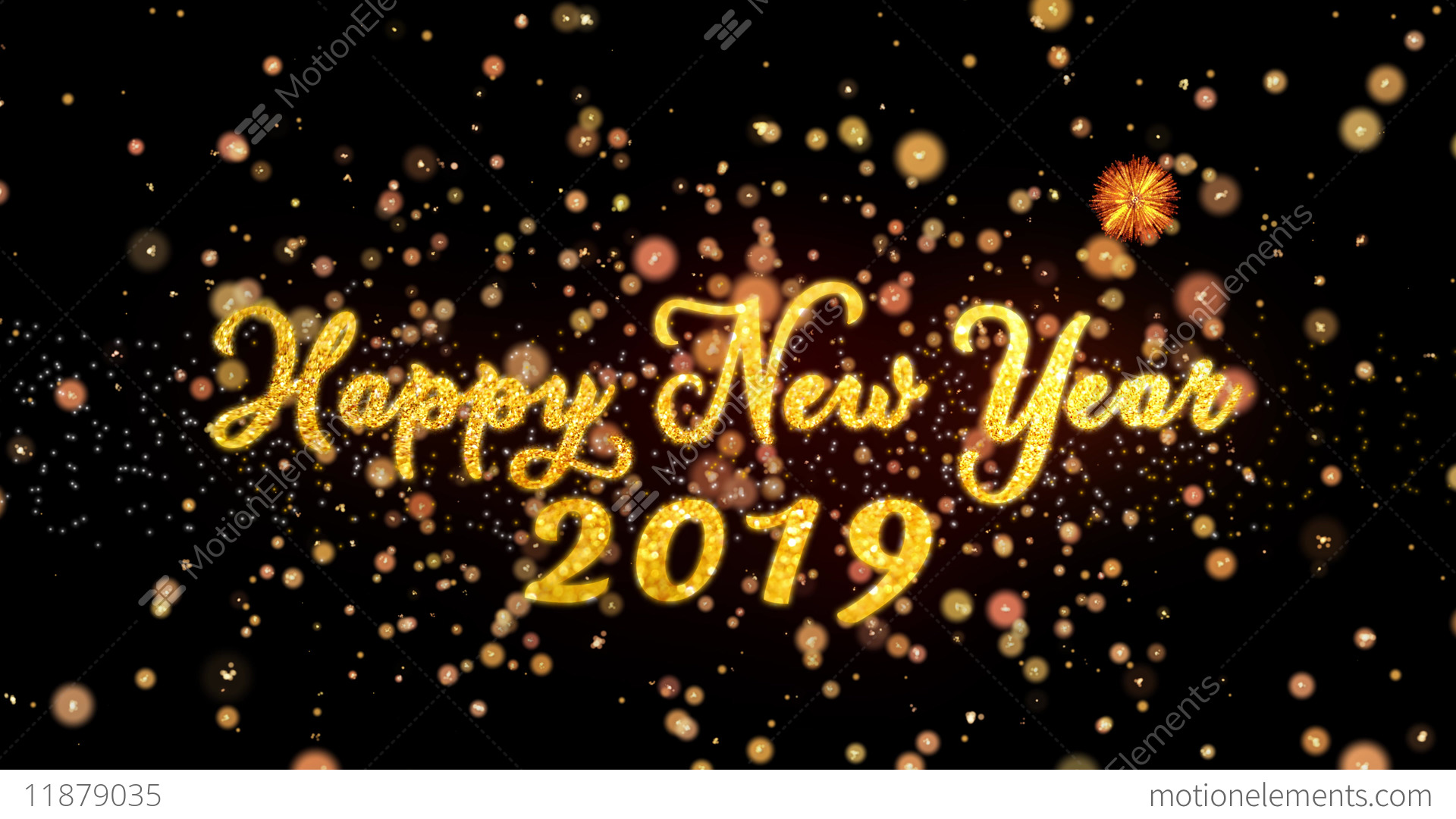 Happy New Year 2019 Abstract Particles And Glitter Fireworks ...