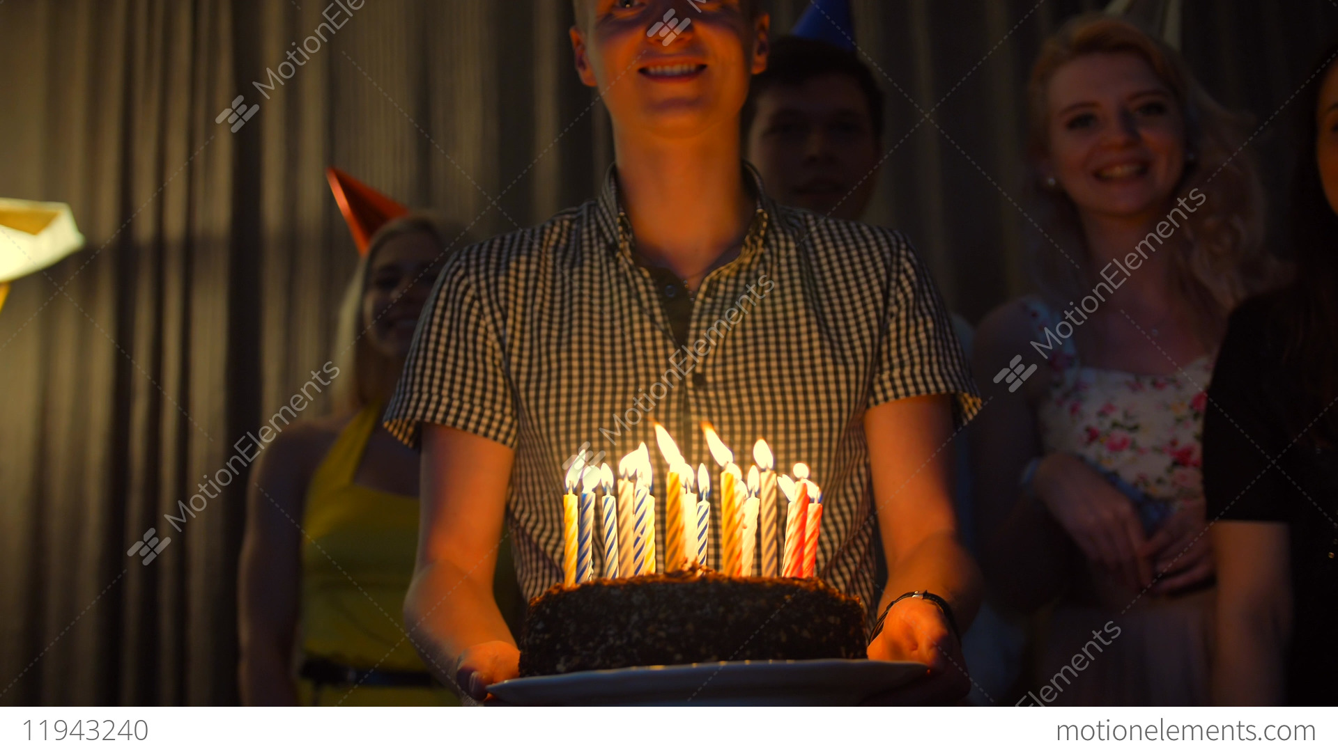 Happy Male With Friends Bringing Birthday Cake To You Stock Video Footage