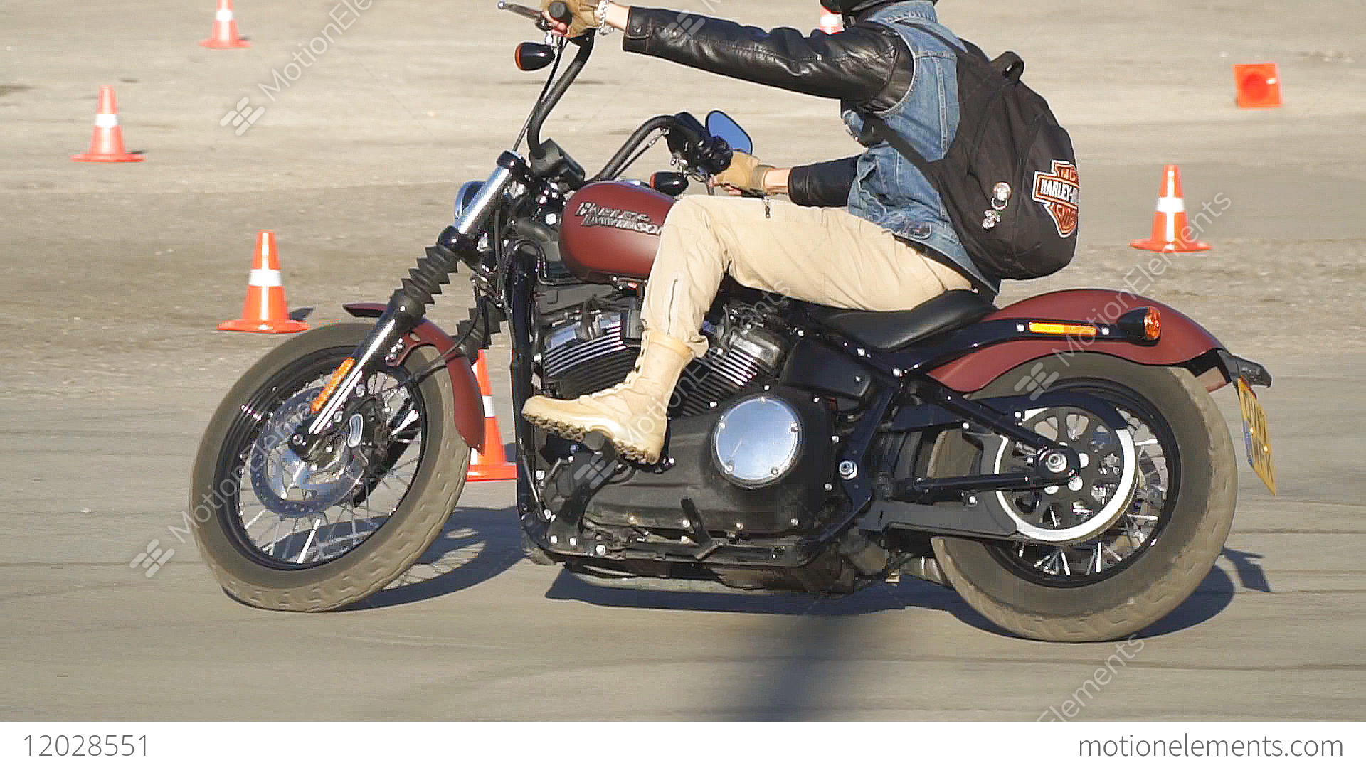 Motorcyclist Riding A Motorcycle Harley Davidson Stock Video Footage