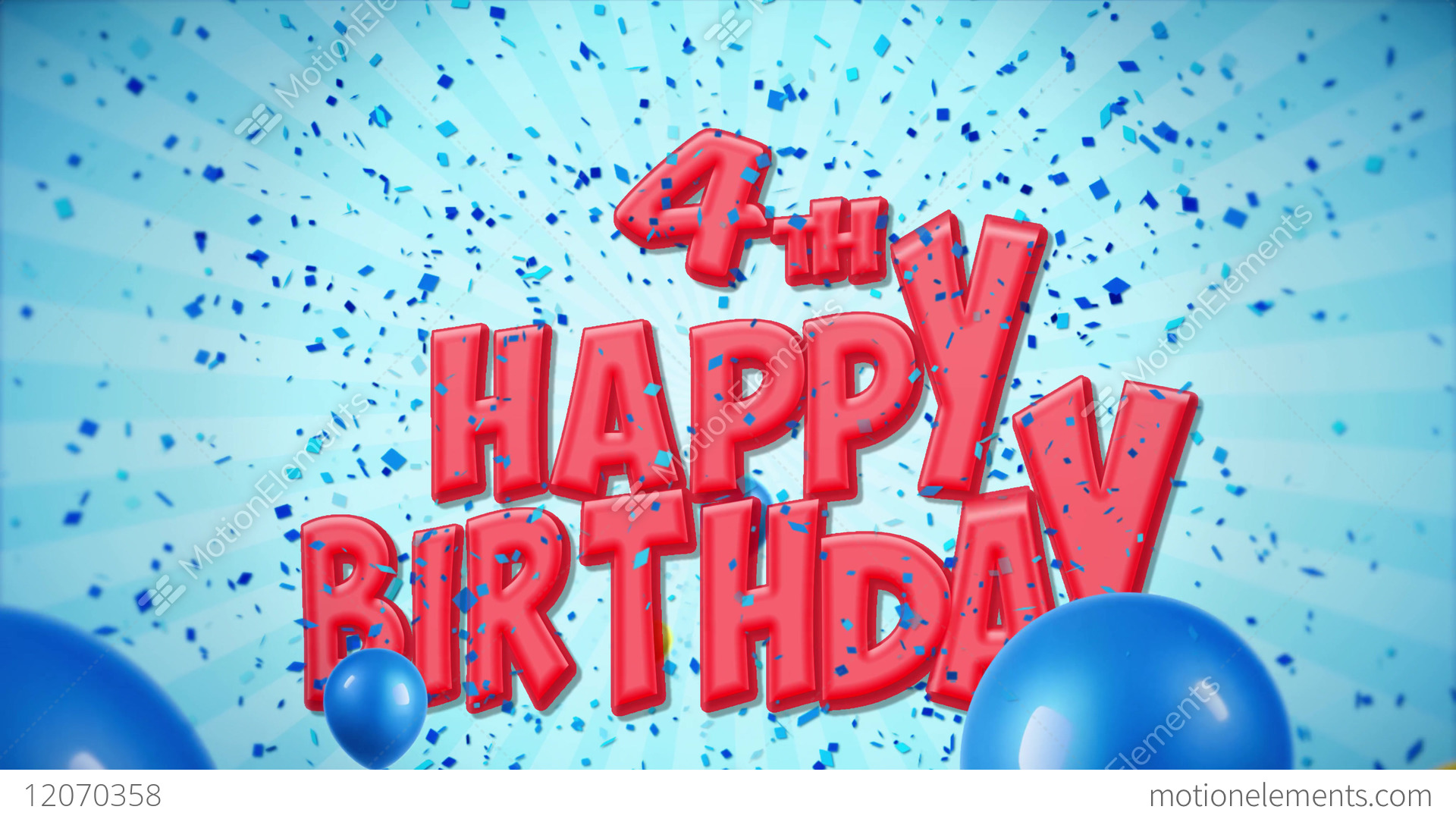 4th Happy Birthday Greeting And Wishes With Balloons Stock Video Footage