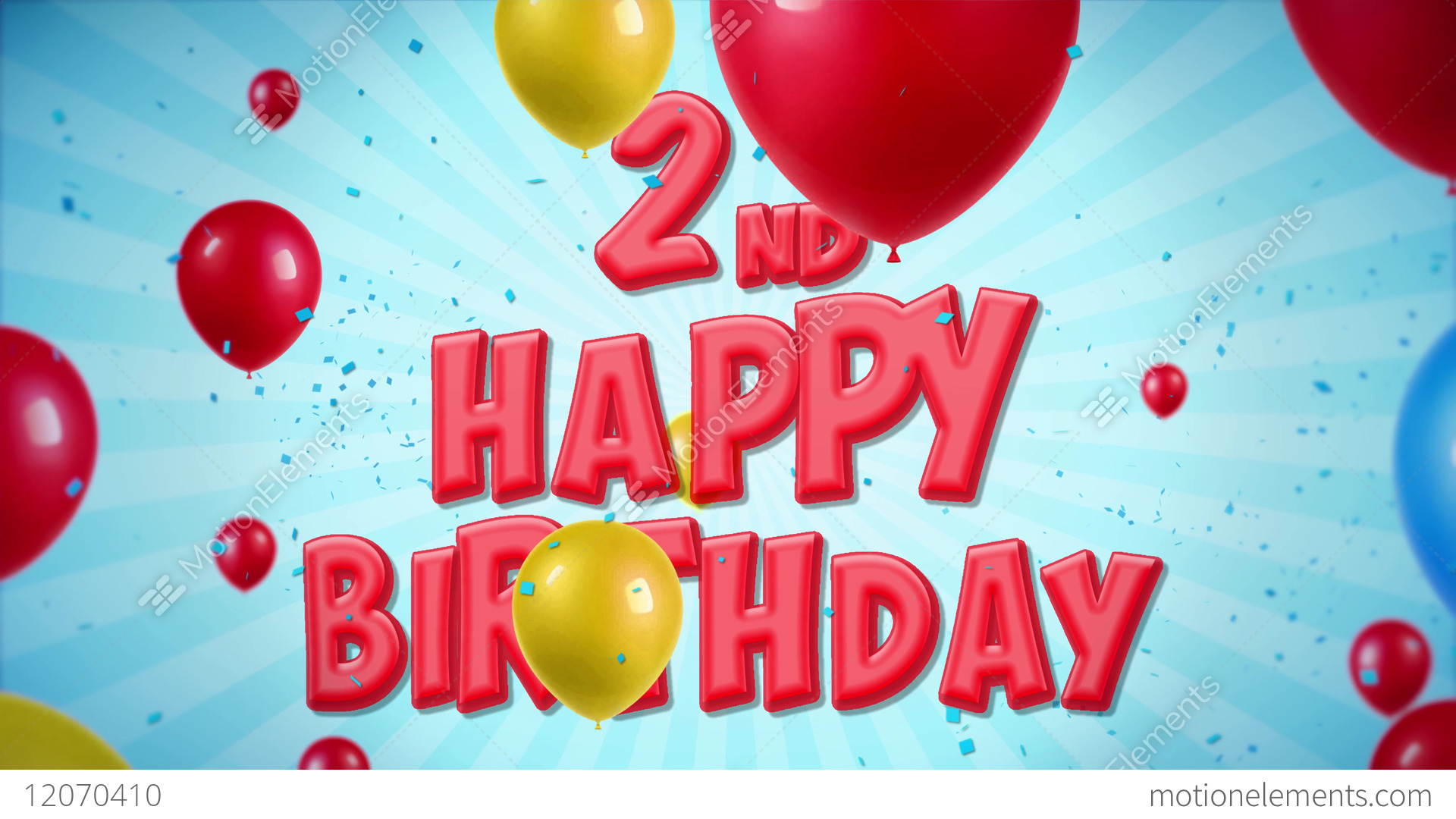 2nd Happy Birthday Greeting And Wishes With Balloons Stock Video