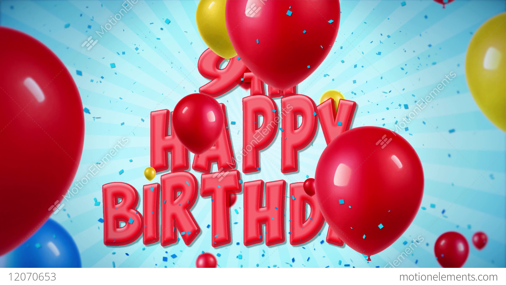 Stock Video Happy Birthday Greeting And Wishes With Balloons Confetti Looped Motion Jpg 1920x1080 9th