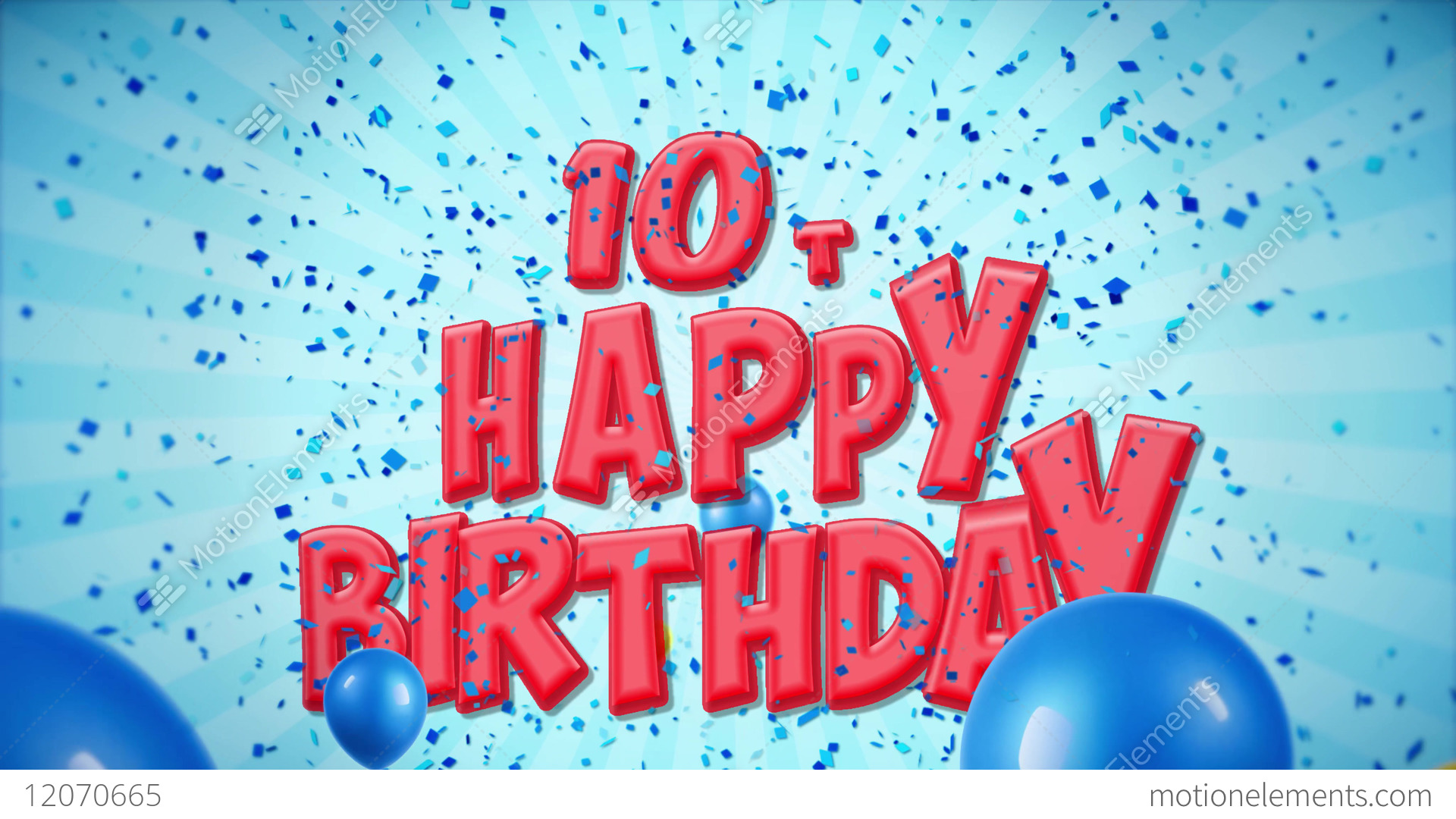 10th Happy Birthday Greeting And Wishes On Balloons Stock Video Footage