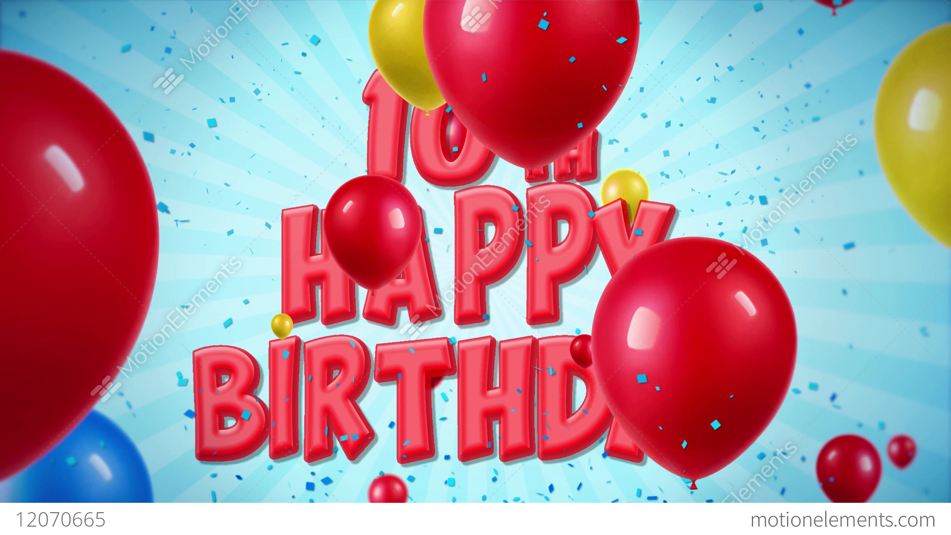 10th Happy Birthday Greeting And Wishes On Balloons Stock Video