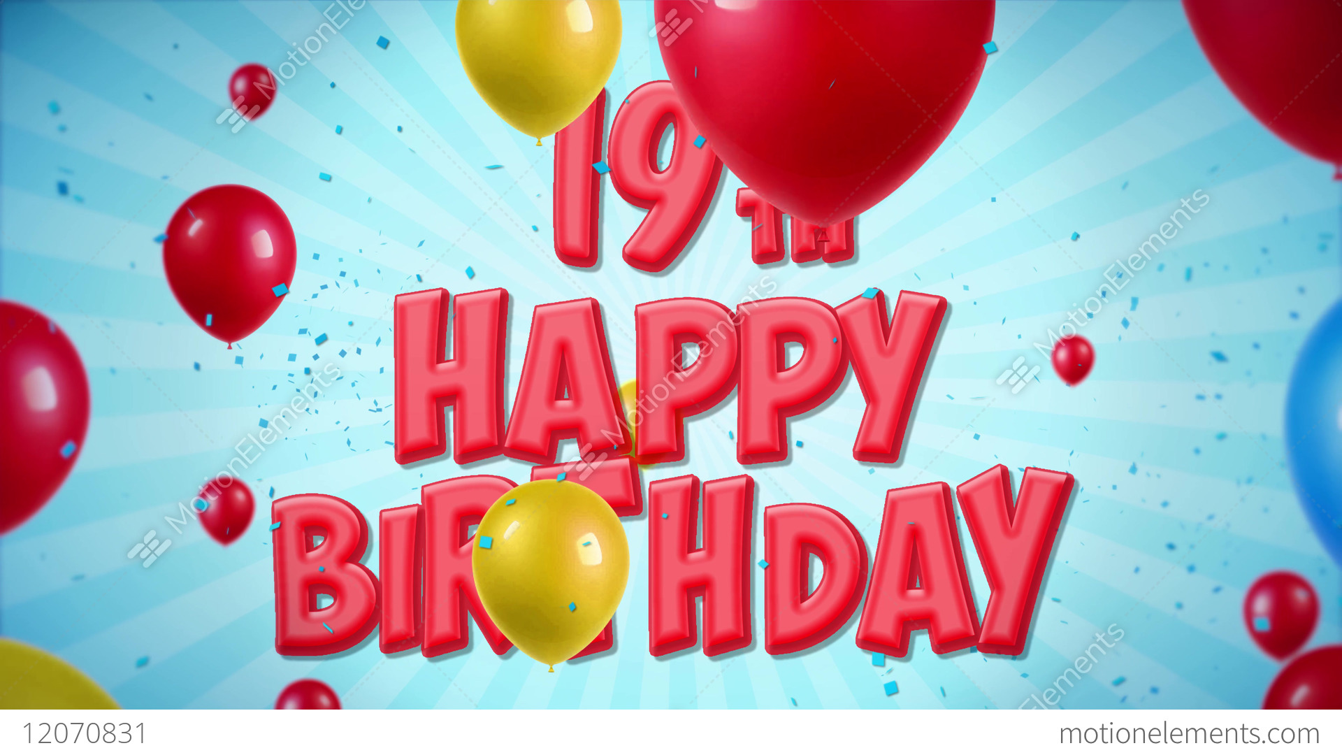 Stock Video Happy Birthday Red Greeting And Wishes With Balloons Confetti Looped Jpg 1920x1080 19th