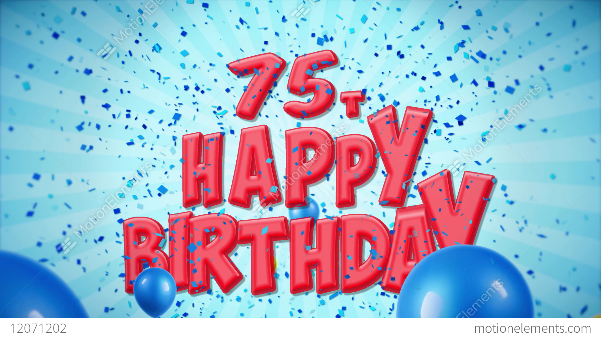 75th Happy Birthday Red Greeting And Wishes With Stock Video Footage