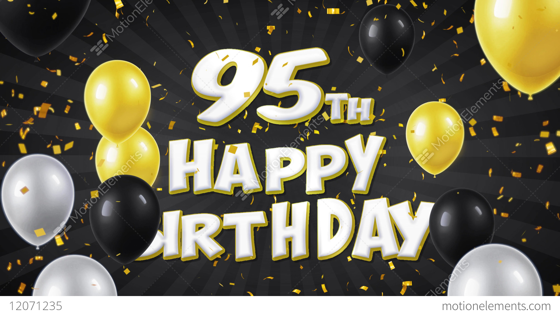 95th Happy Birthday Black Text Greeting Wishes Stock Video