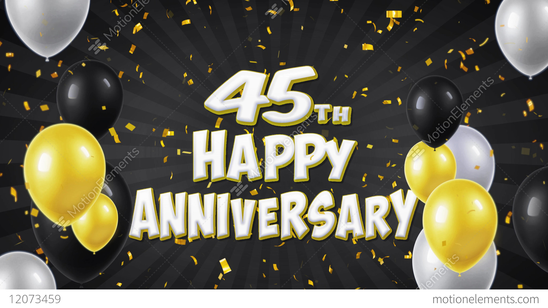 45th Happy Anniversary Black Greeting And Wishes With Stock Video Footage