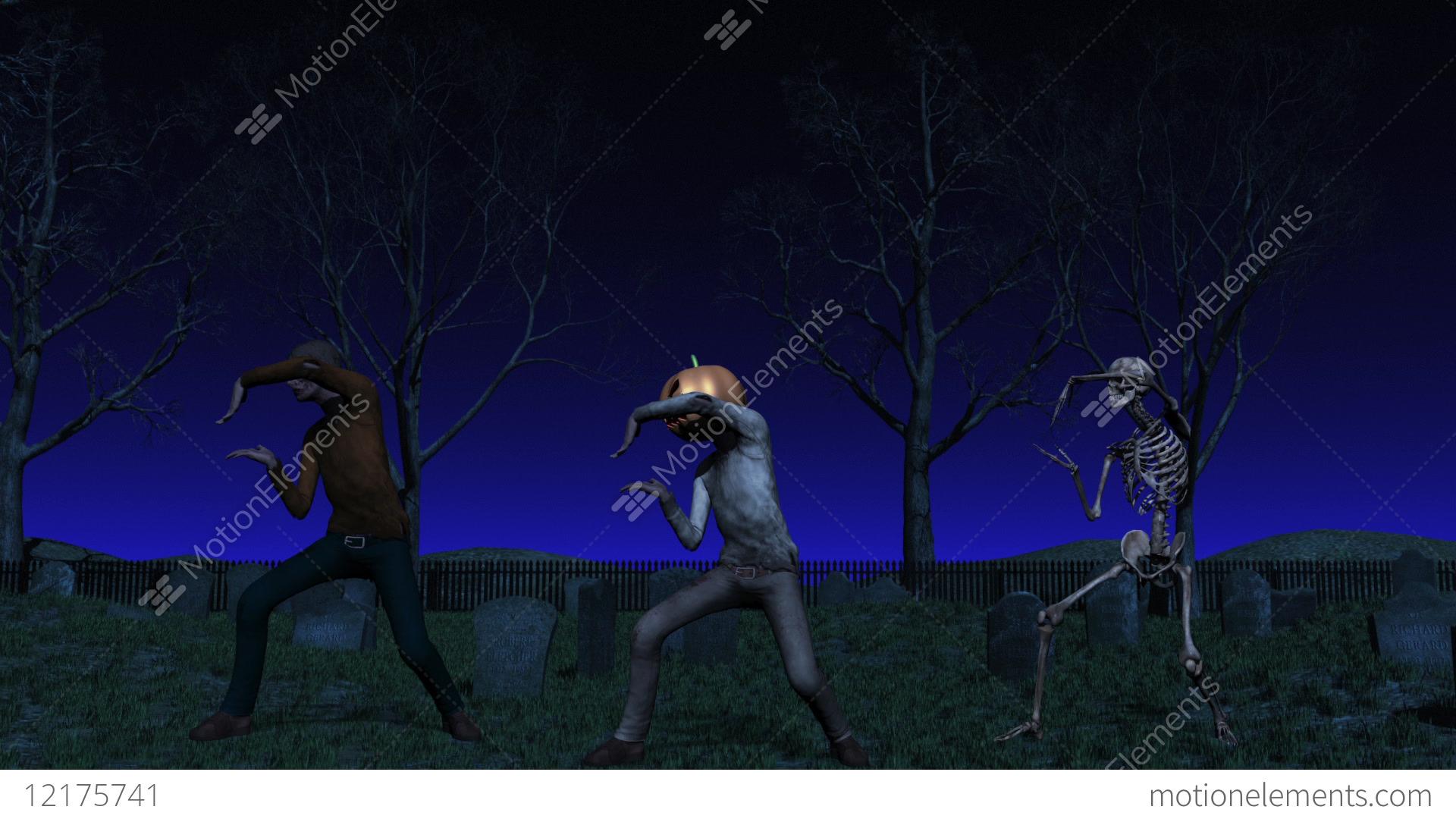 halloween cemetery dance animation stock animation | 12175741