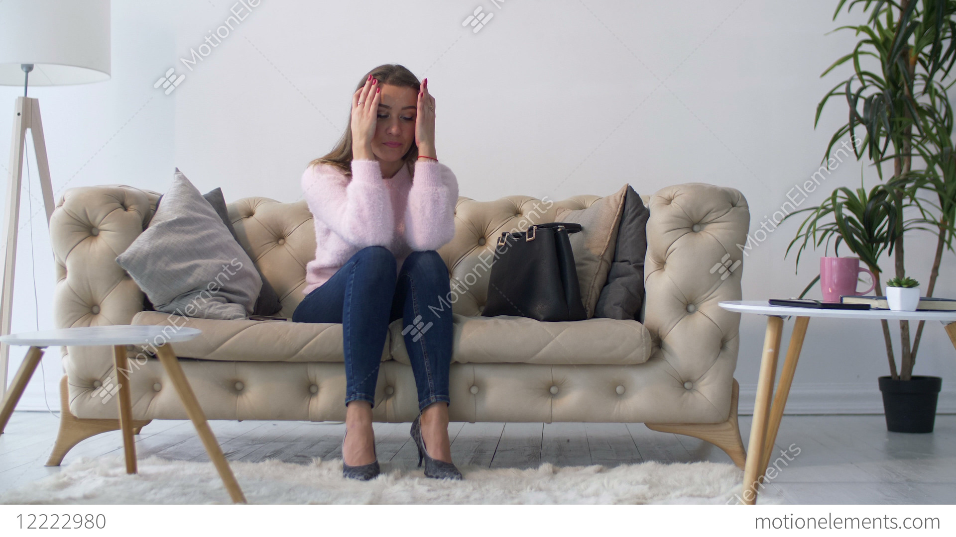 Lonely Depressed Woman Sitting On Sofa At Home Stock Video Footage