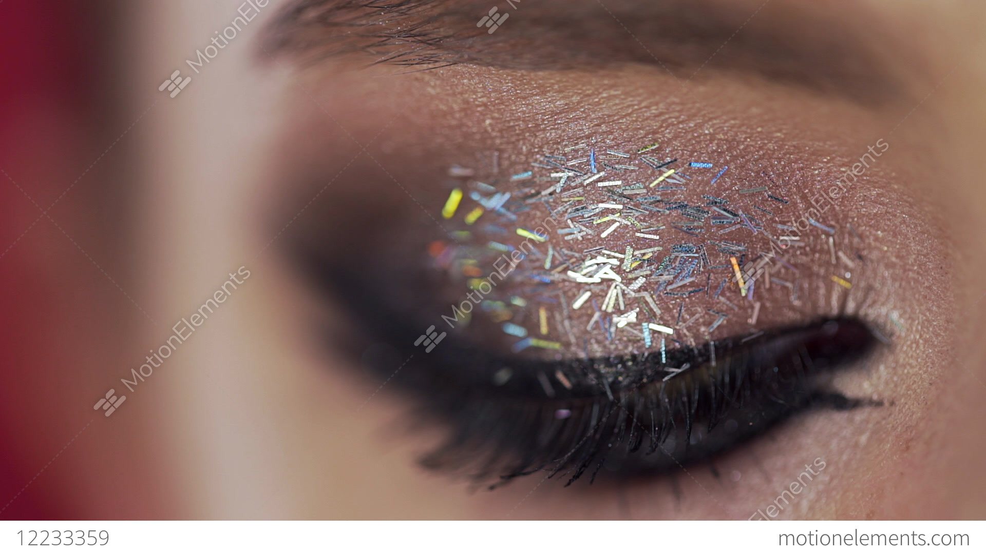 b2c13d81cd4 Close up of the eye lashes makeup, woman with evening... Stock Video Footage