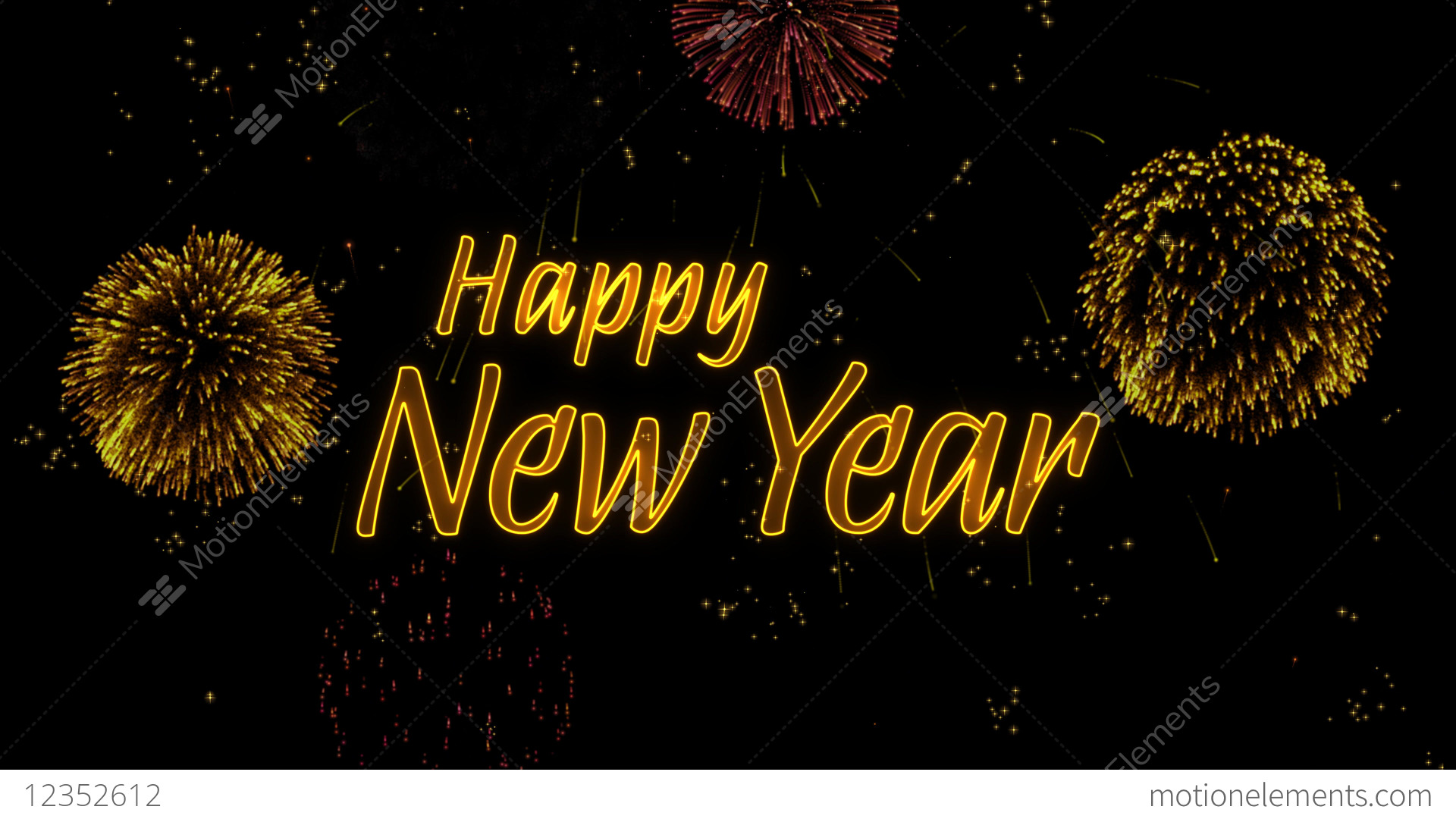 happy new year greeting text with particles colored stock video footage