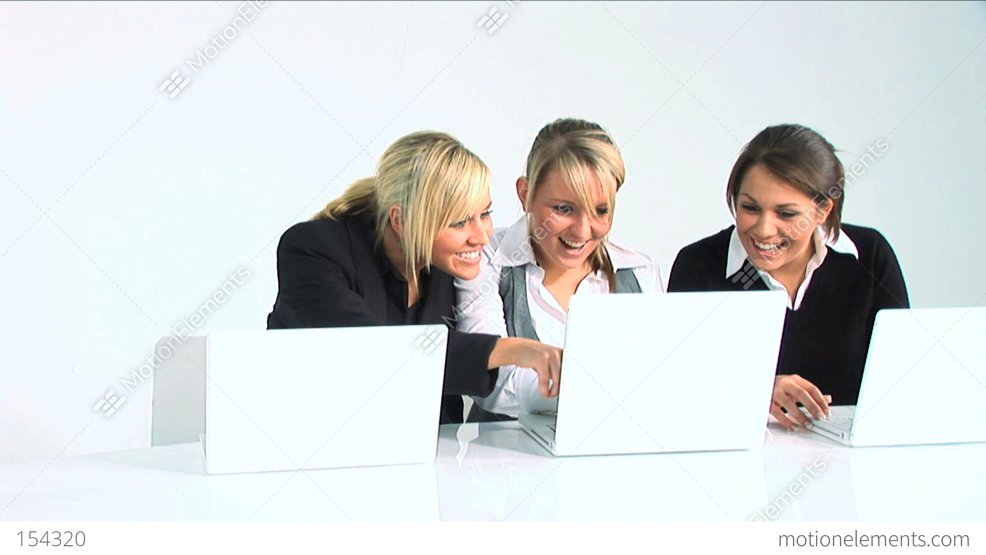 Three women working with computer stock video footage 154320 for Ladeblok wit 3 lades