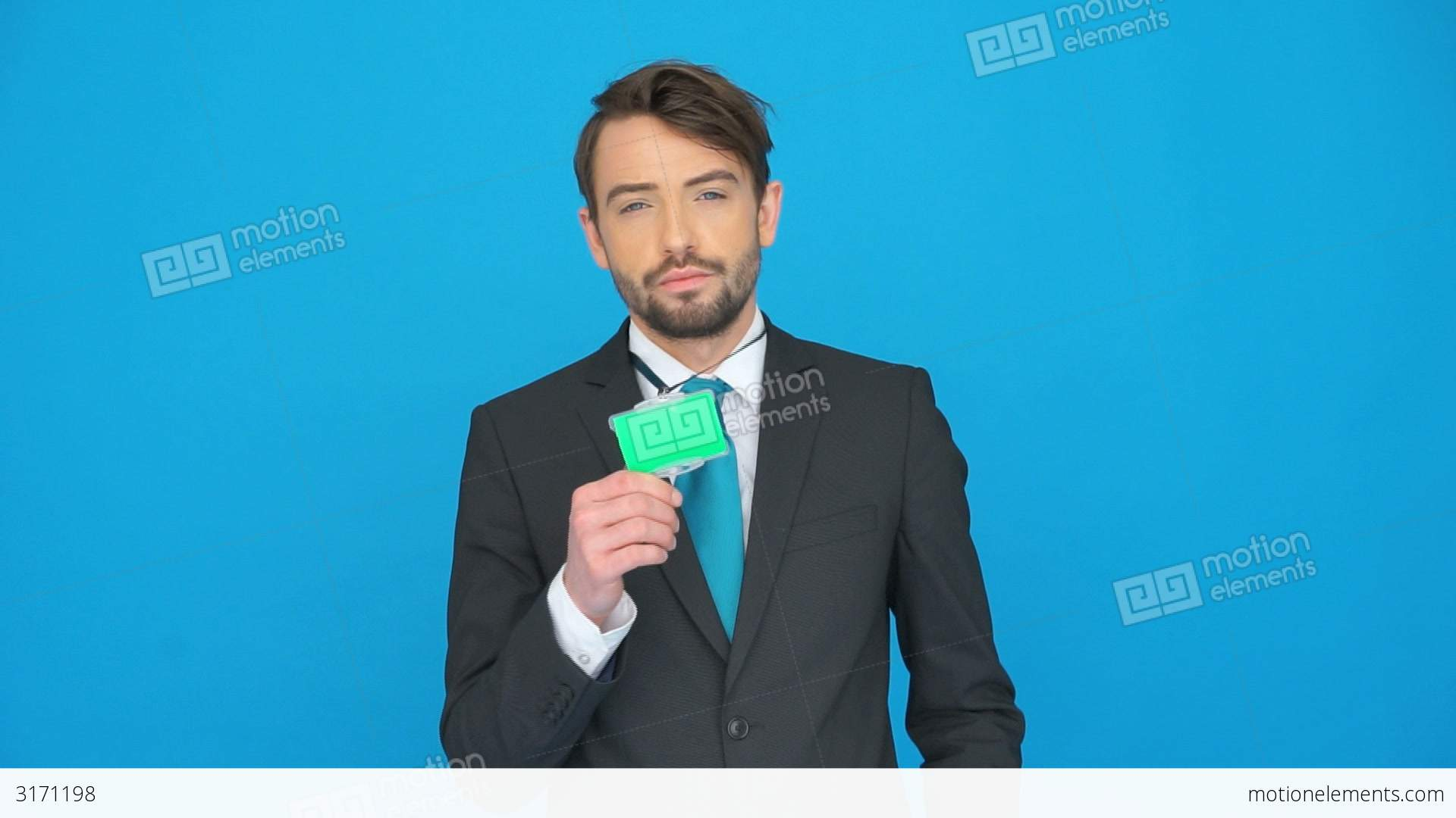 Handsome Businessman Showing His Id Card Stock video footage