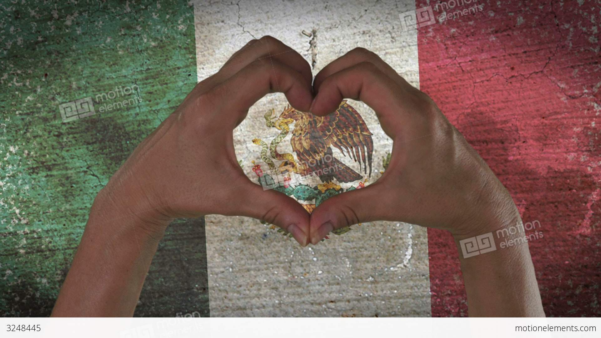 Hands Heart Symbol Mexico Flag Stock Video Footage 3248445