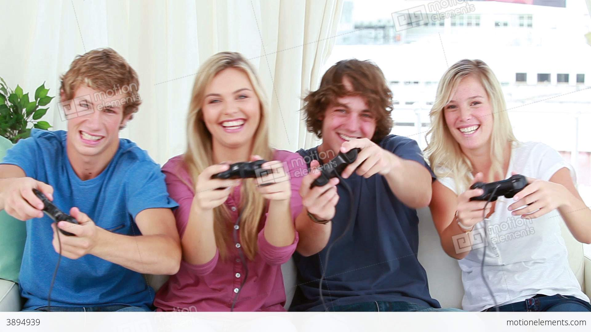 Happy Friends Playing Video Games Together Stock video ...