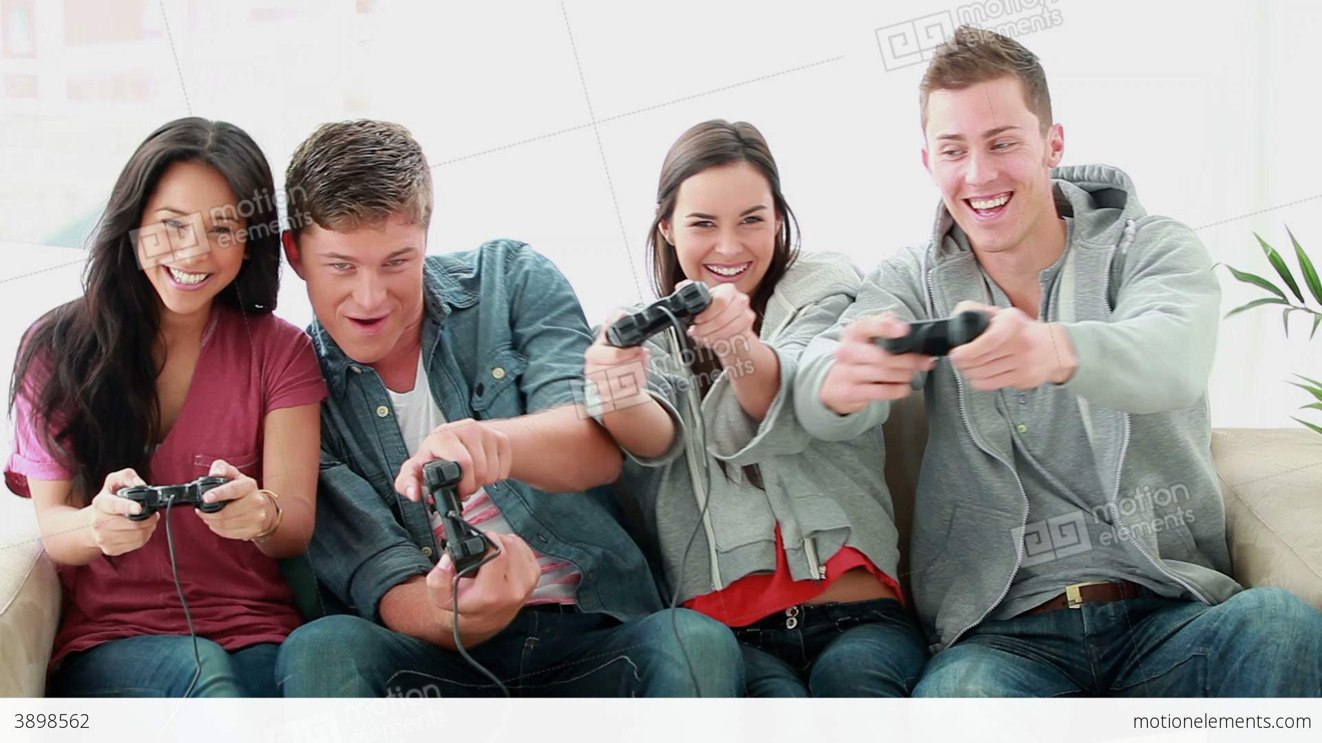 Friends Playing Video Games While Laughing Stock video ...