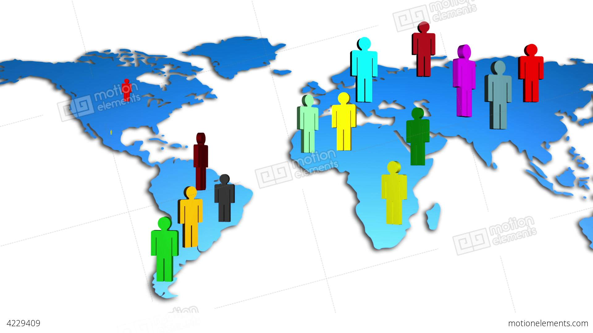 world map colorful diverse people growing stock video footage