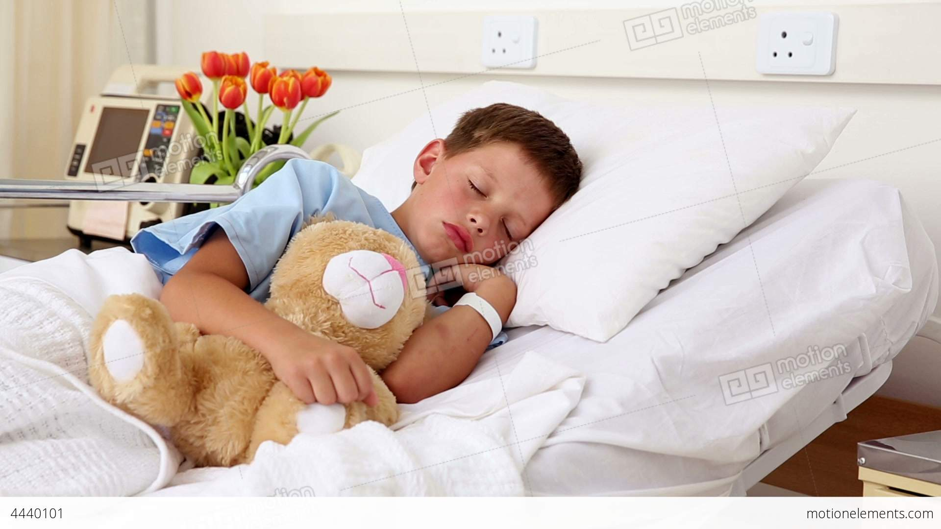 little sick boy sleeping in bed with teddy bear stock video footage 4440101. Black Bedroom Furniture Sets. Home Design Ideas