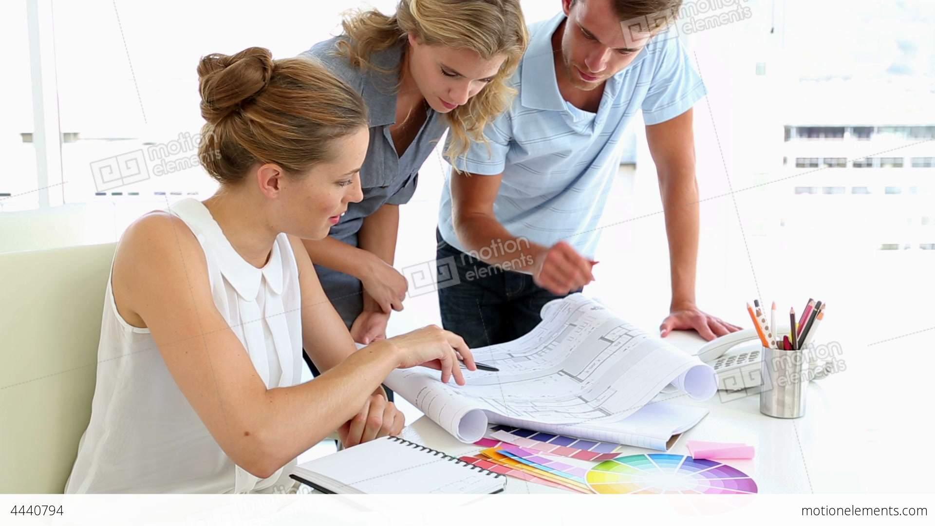 Interior Designer Working: Pretty Interior Designer Working With Clients Stock Video
