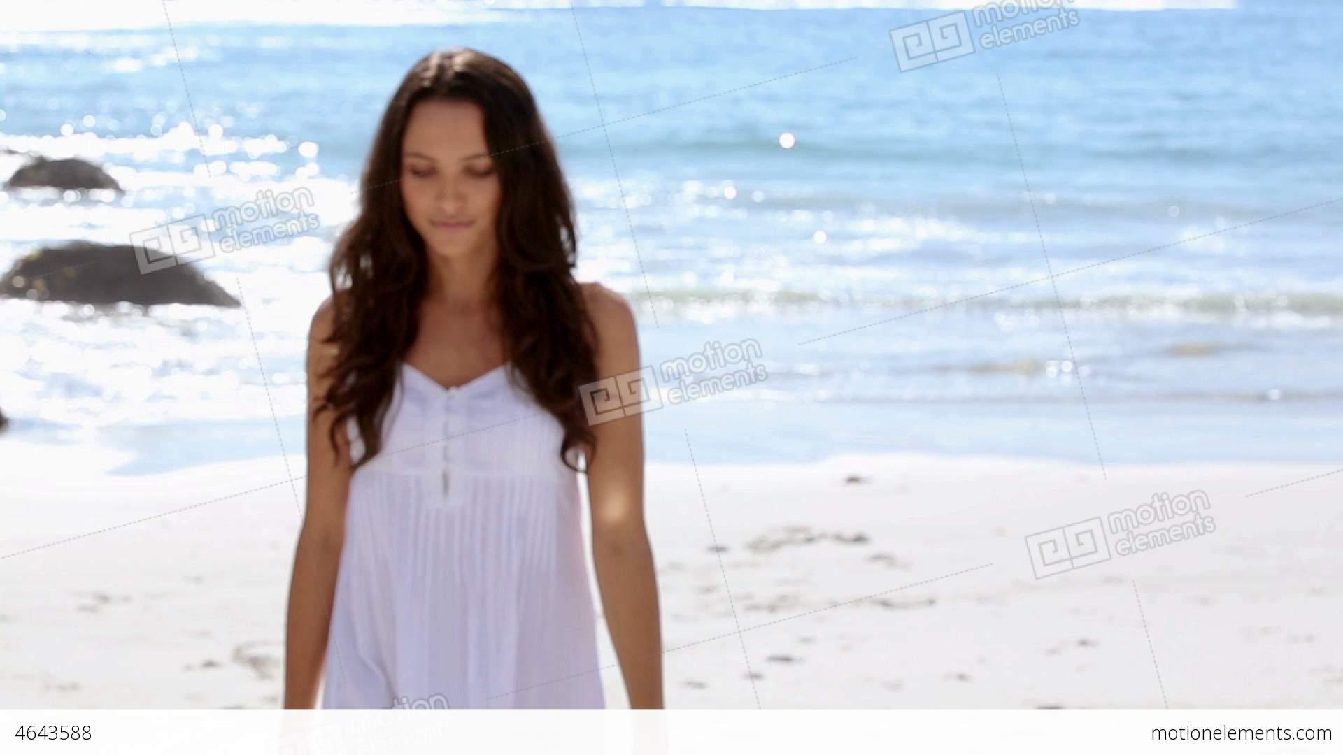 Beautiful Woman Walking Towards The Camera And Smi Stock ...