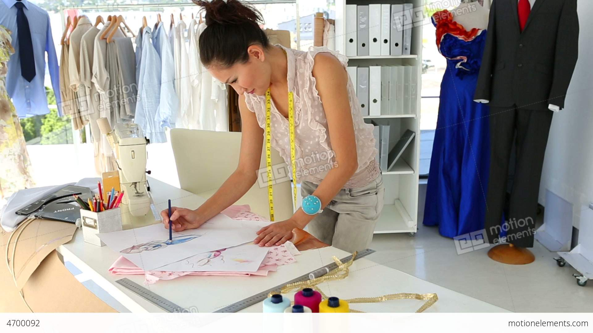 Fashion Designer Sketching A Design At Table Stock Video