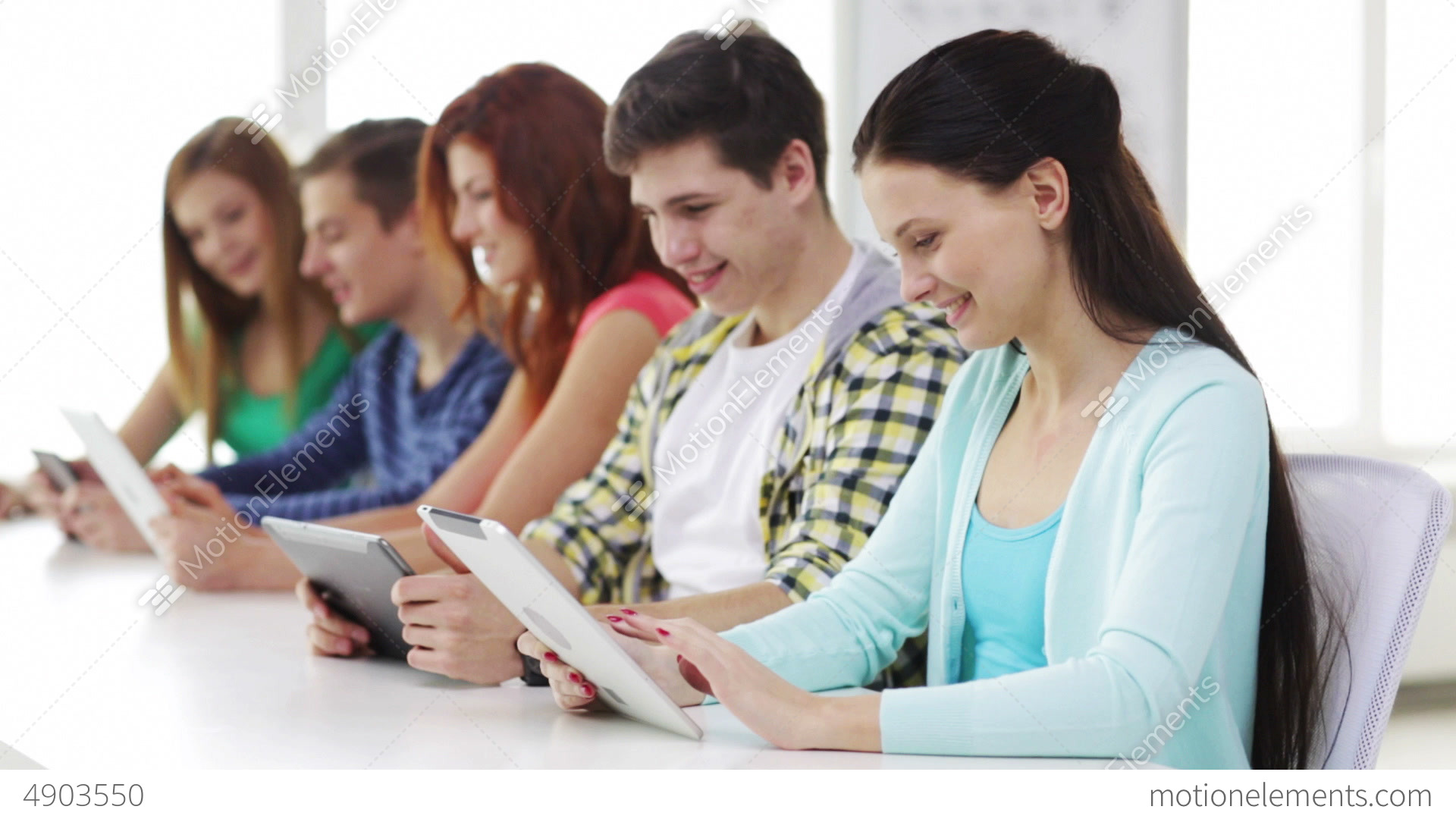 Smiling Students With Tablet Pc At School Stock Video Footage 4903550