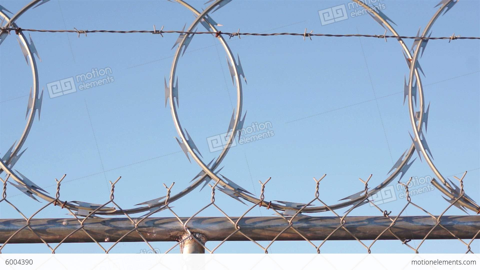 Woman Climing Razor Wire Fence Stock video footage   6004390