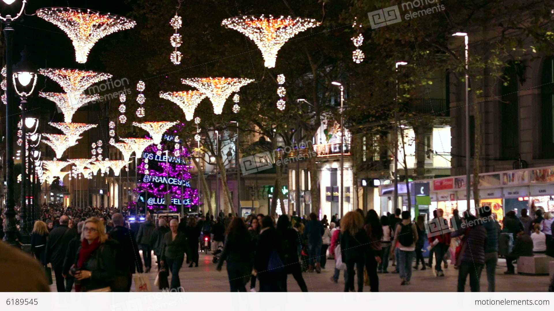 Barcelona Christmas Street Lights Decorations Stock video footage ...