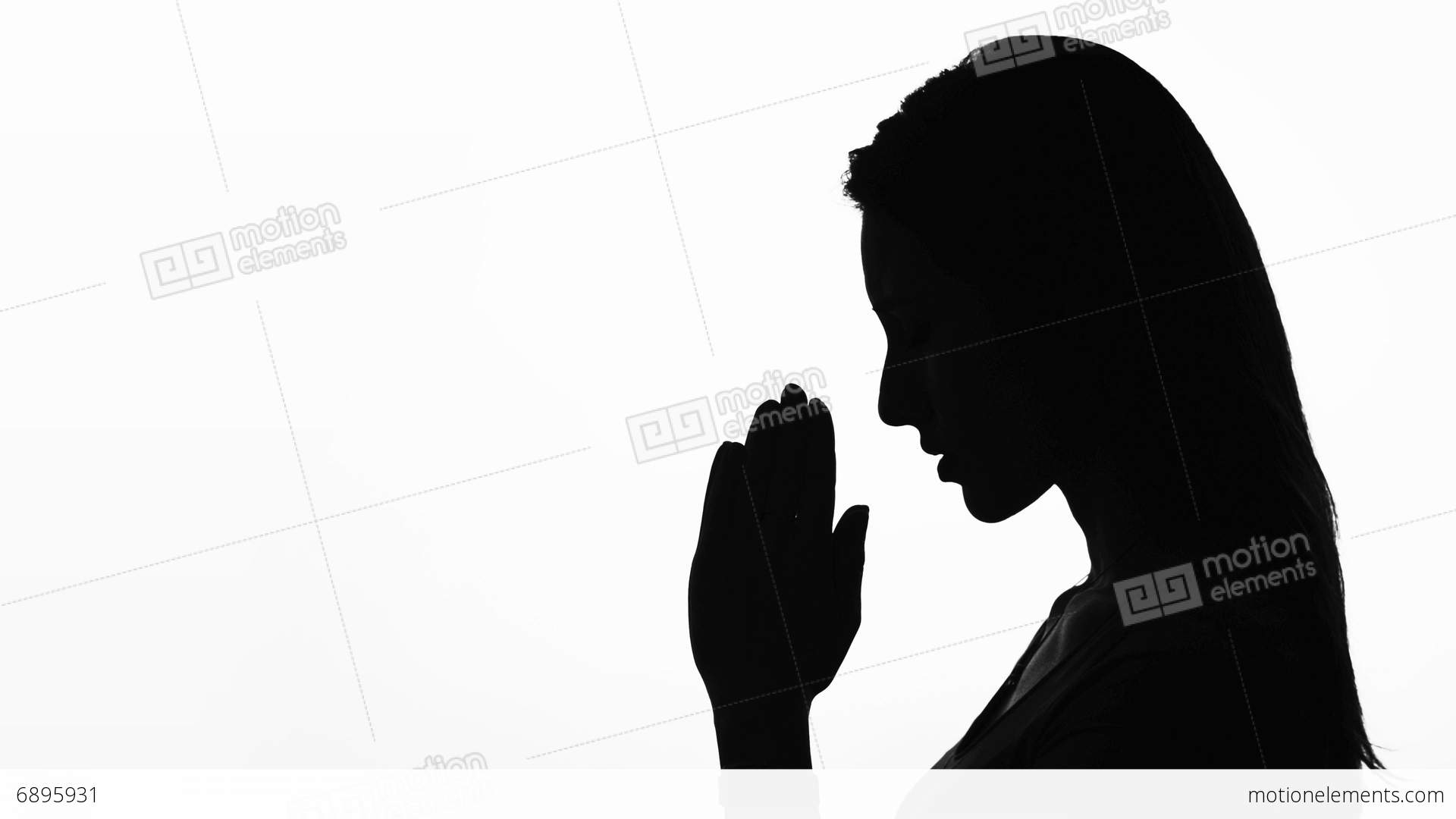 Closeup Profile Of A Woman Praying In Silhouette Isolated ...