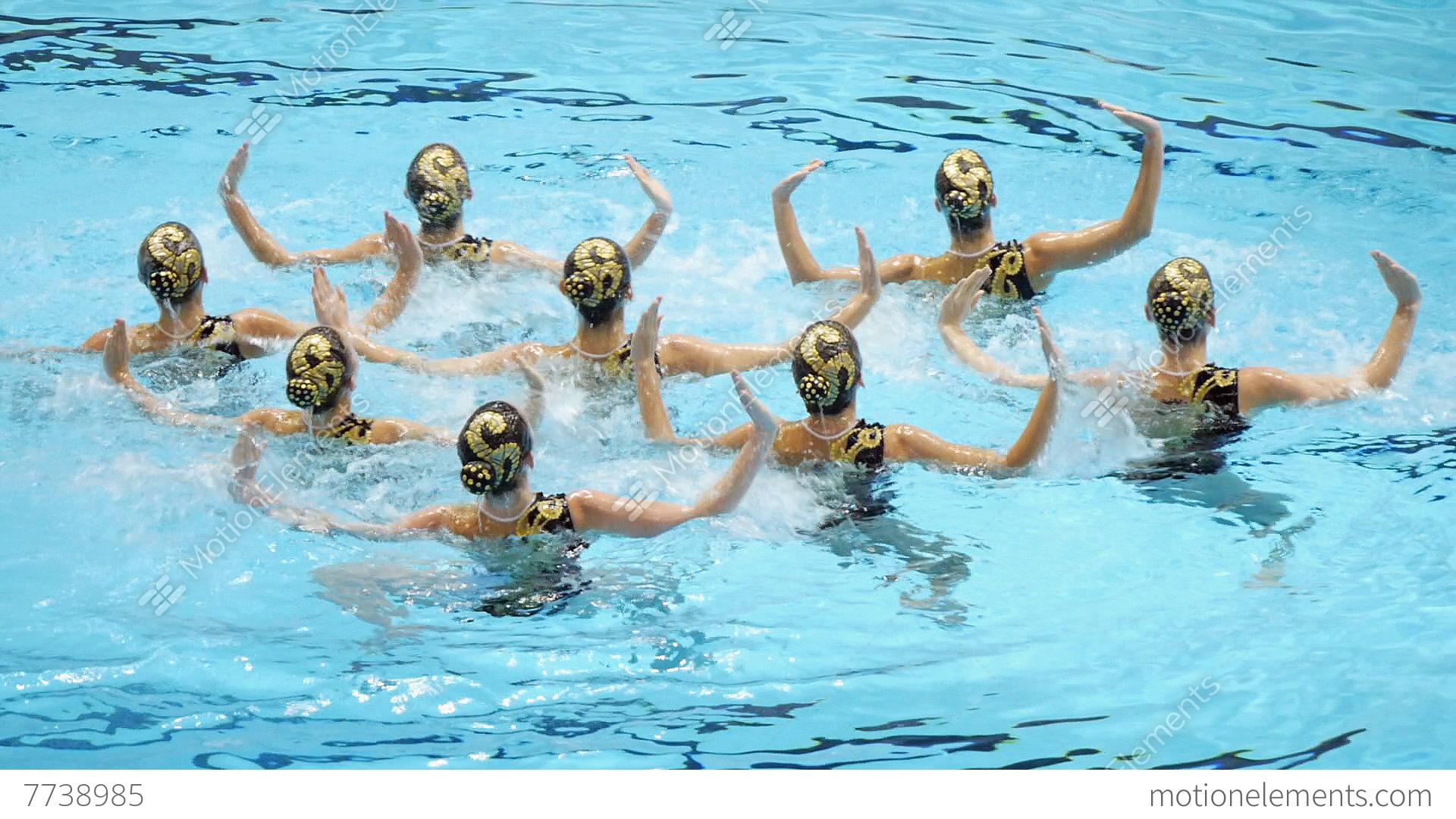 Swimming Pool Women 39 S Team Synchronized Dance Slomo Stock Video Footage 7738985