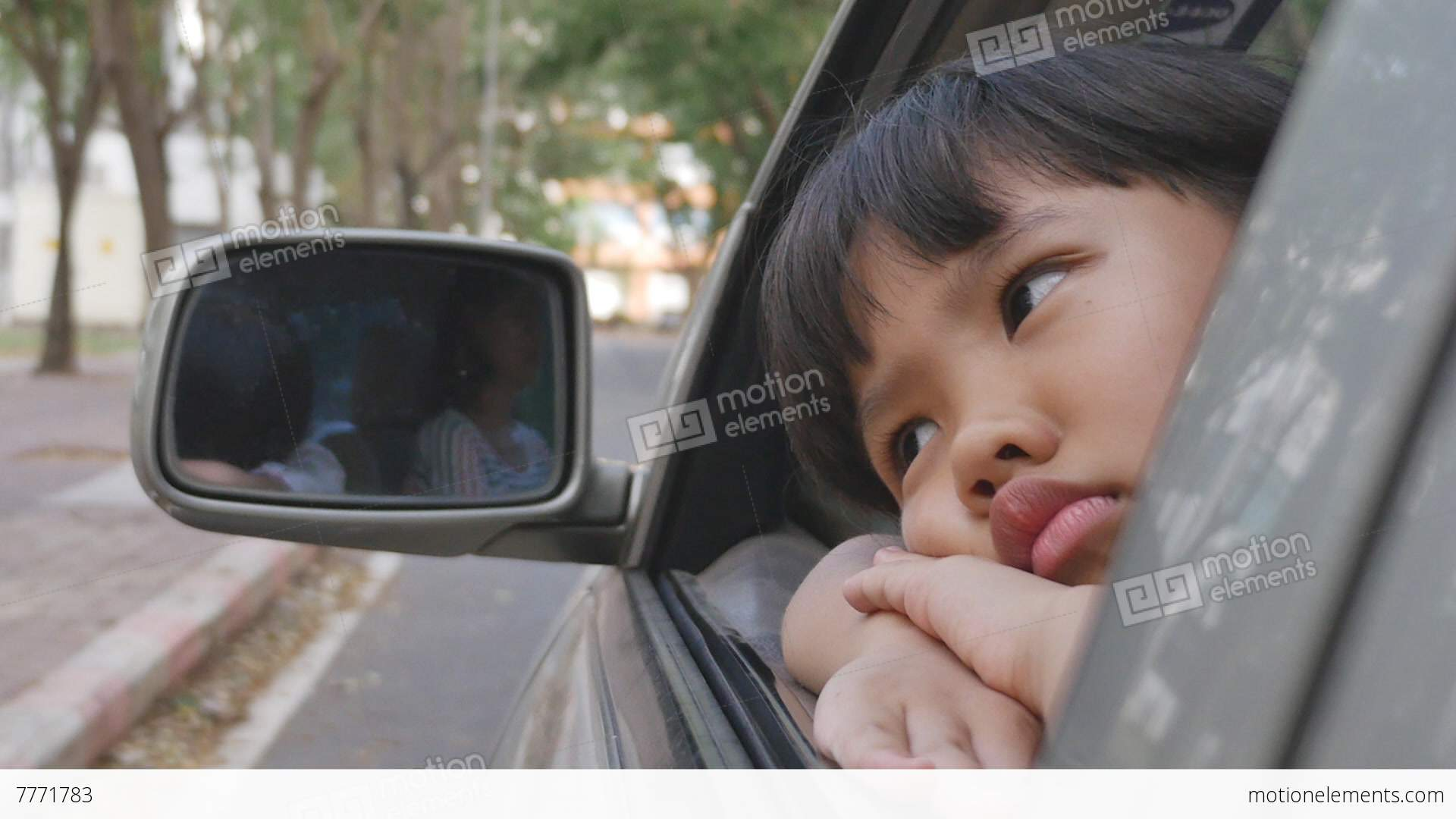 sadness asian girl looking out from car window stock video