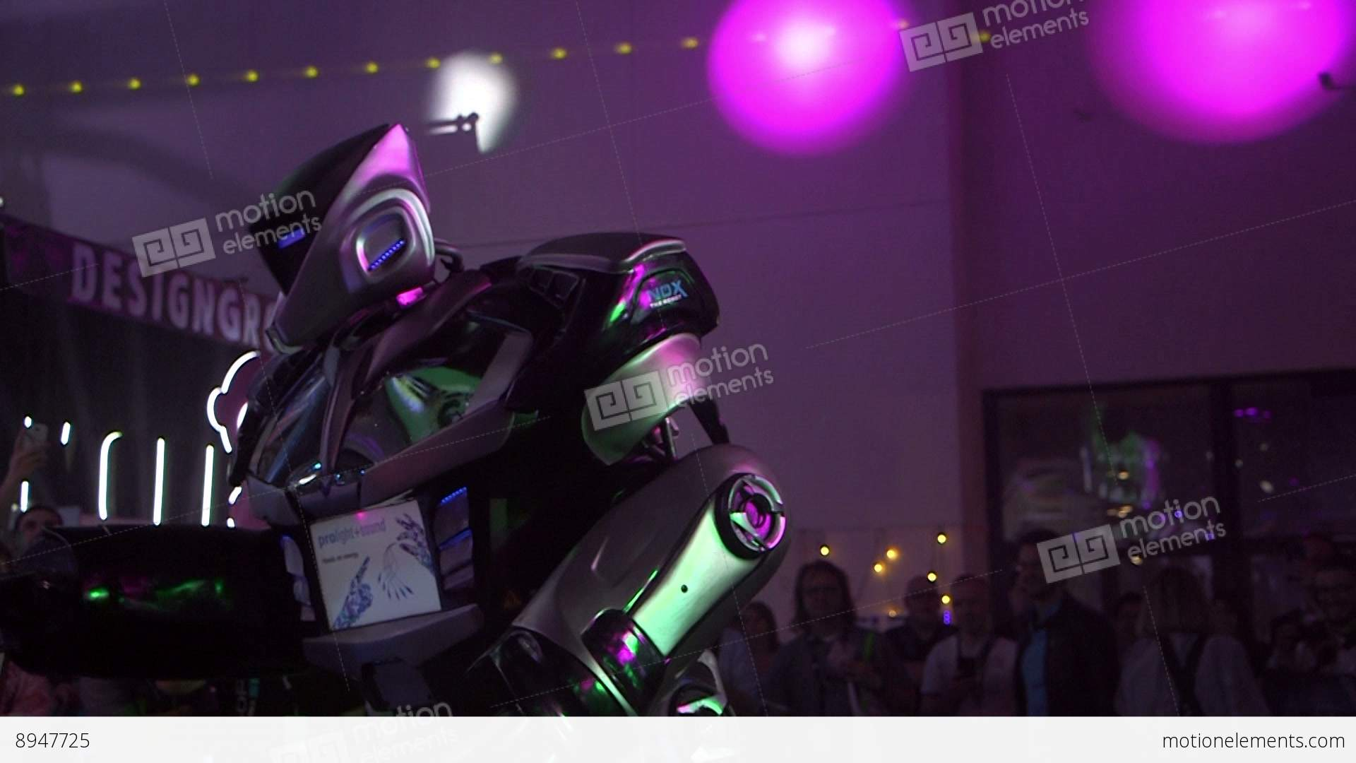 robot performance on sound and light show stock video footage 8947725. Black Bedroom Furniture Sets. Home Design Ideas