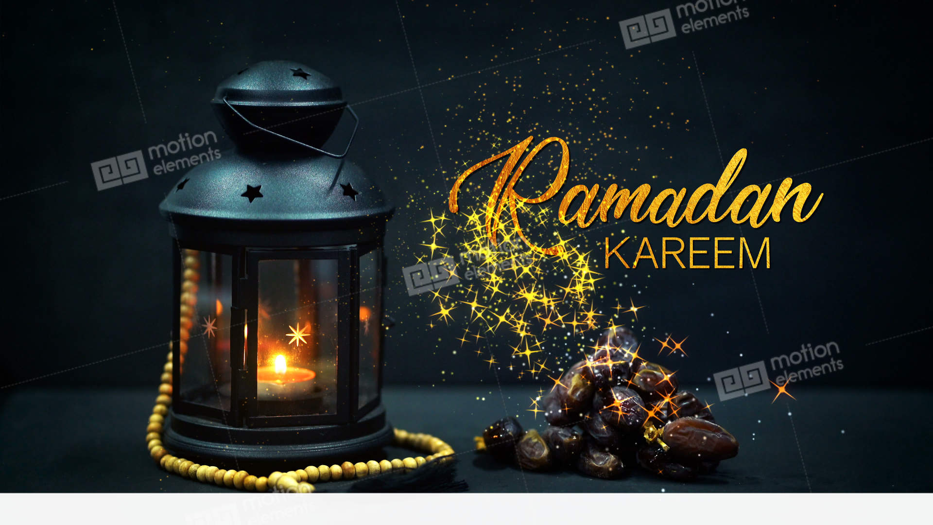 Eid mubarak greeting gold glitter particles ramadan candle lantern with wooden stock animation eid mubarak greeting gold glitter particles ramadan stock video footage m4hsunfo