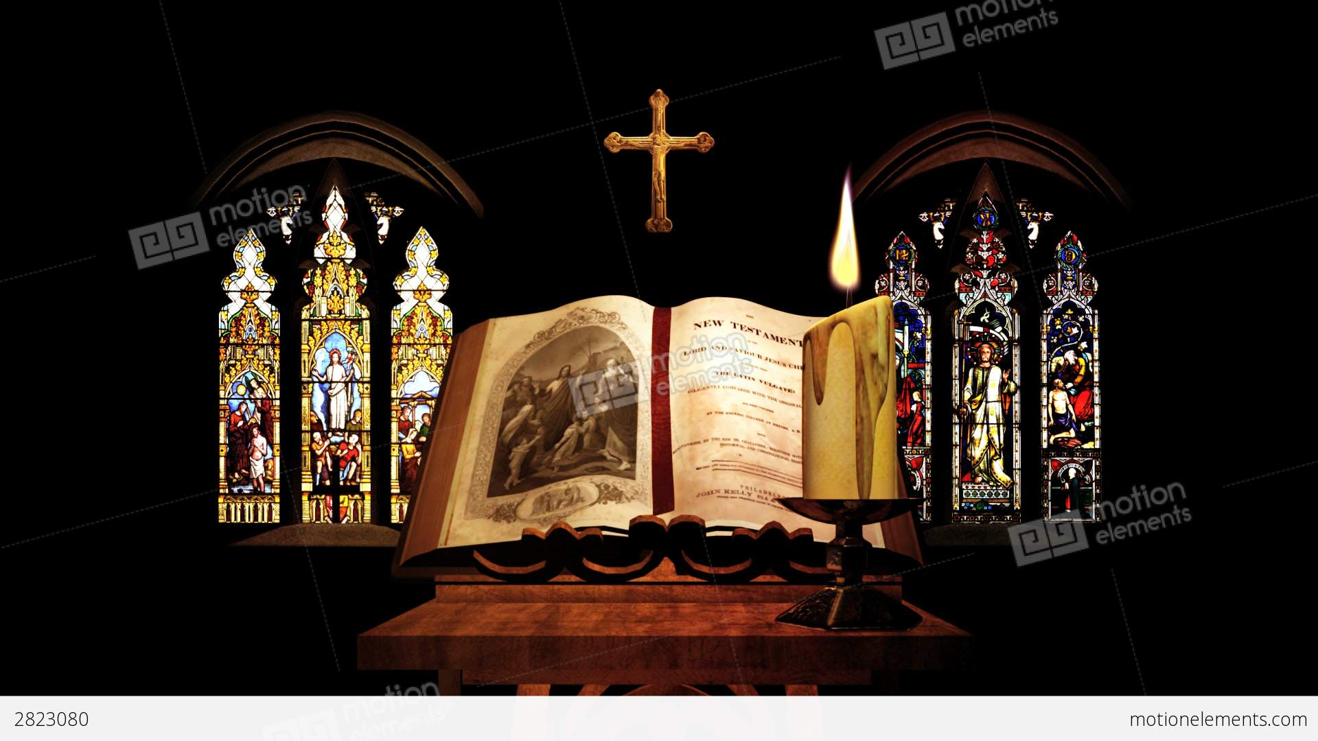 Church Bible Candle Cross Stained Glass Window Stock Animation
