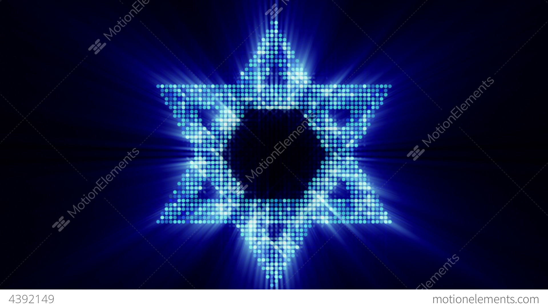 Star Of David From Glowing Blue Particles Loop Stock