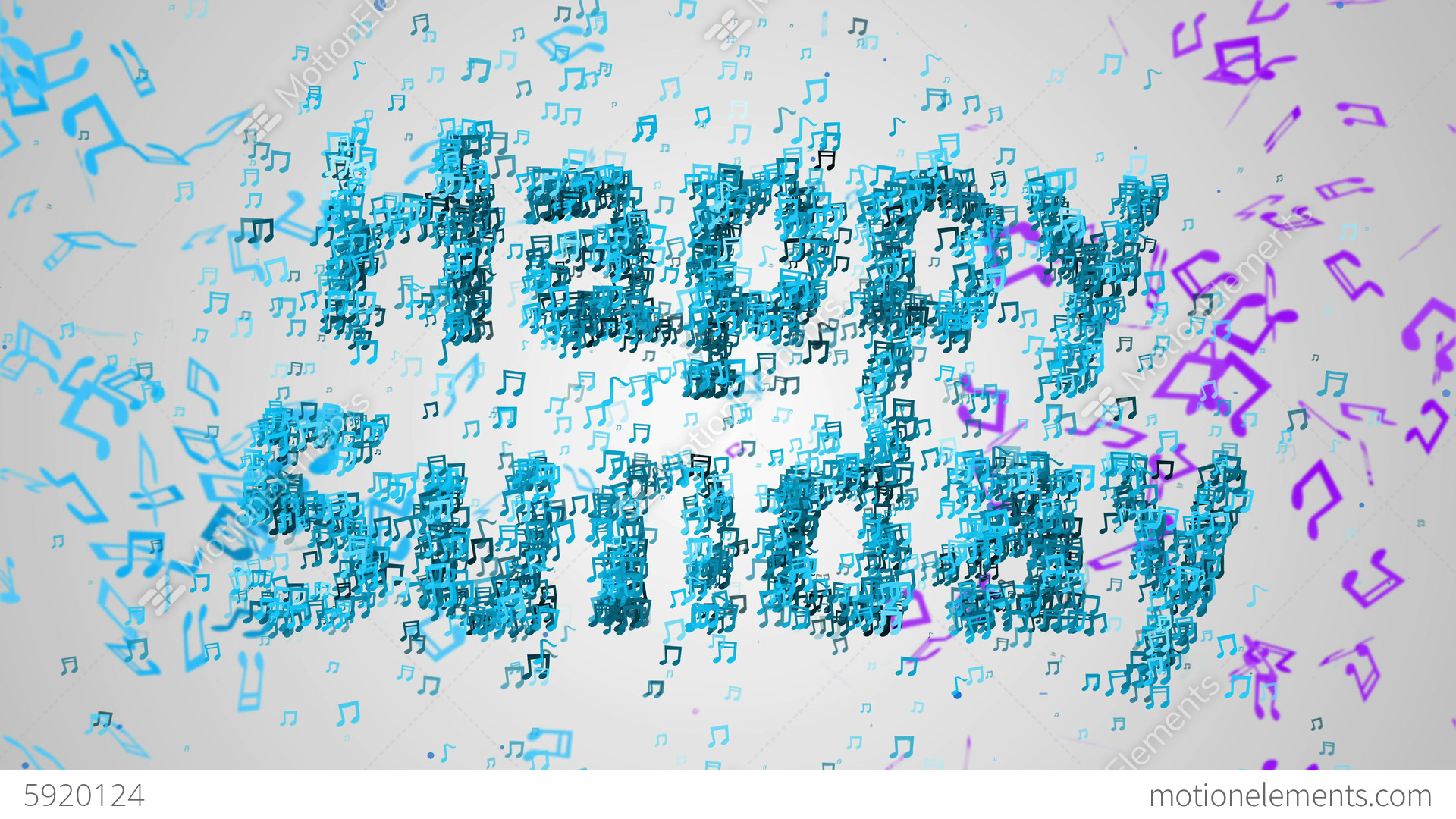 Happy Sunday Musical Note Blue Background Loop Ani Stock