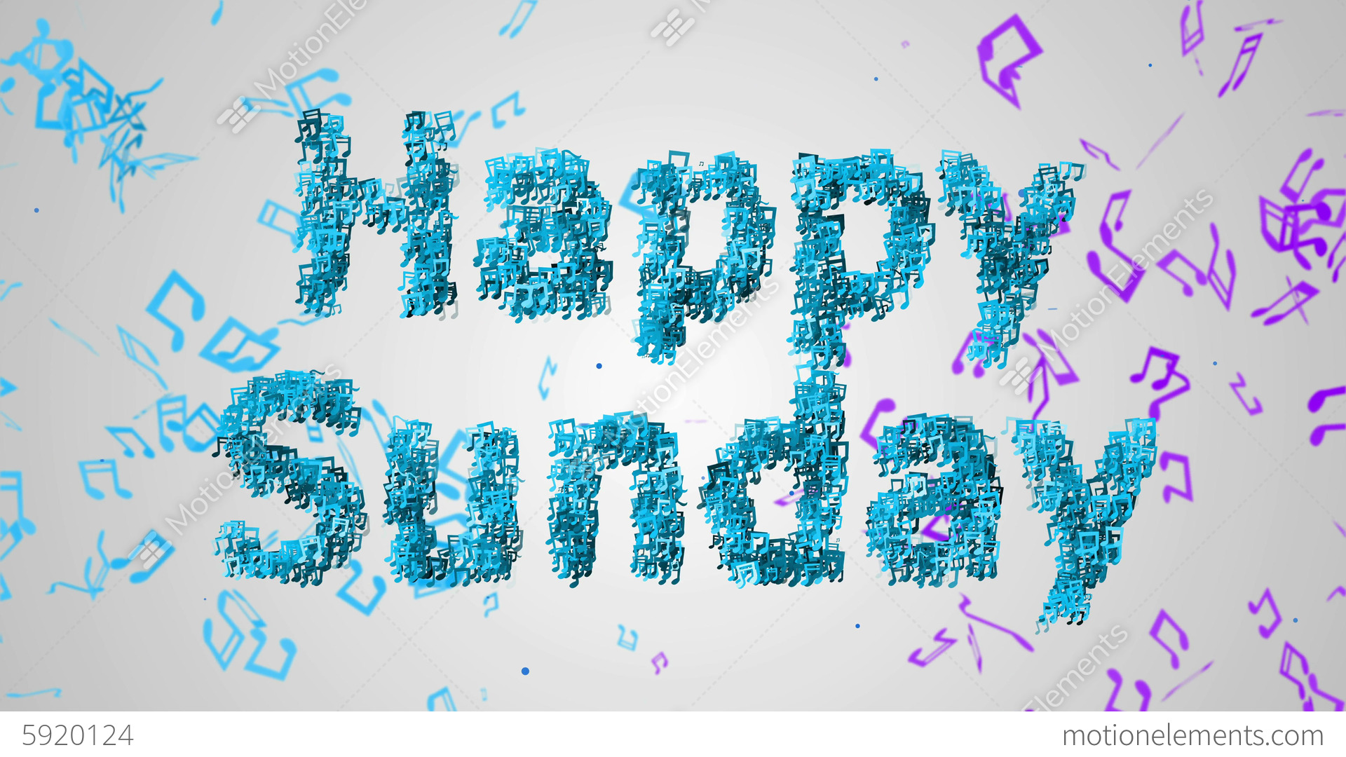 Happy Sunday Musical Note Blue Background Loop Ani CG動画素材